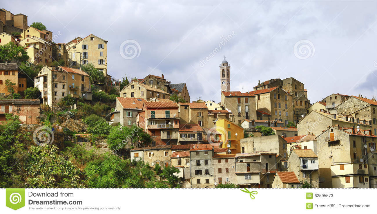 ville de corte en corse photo stock image 62595573