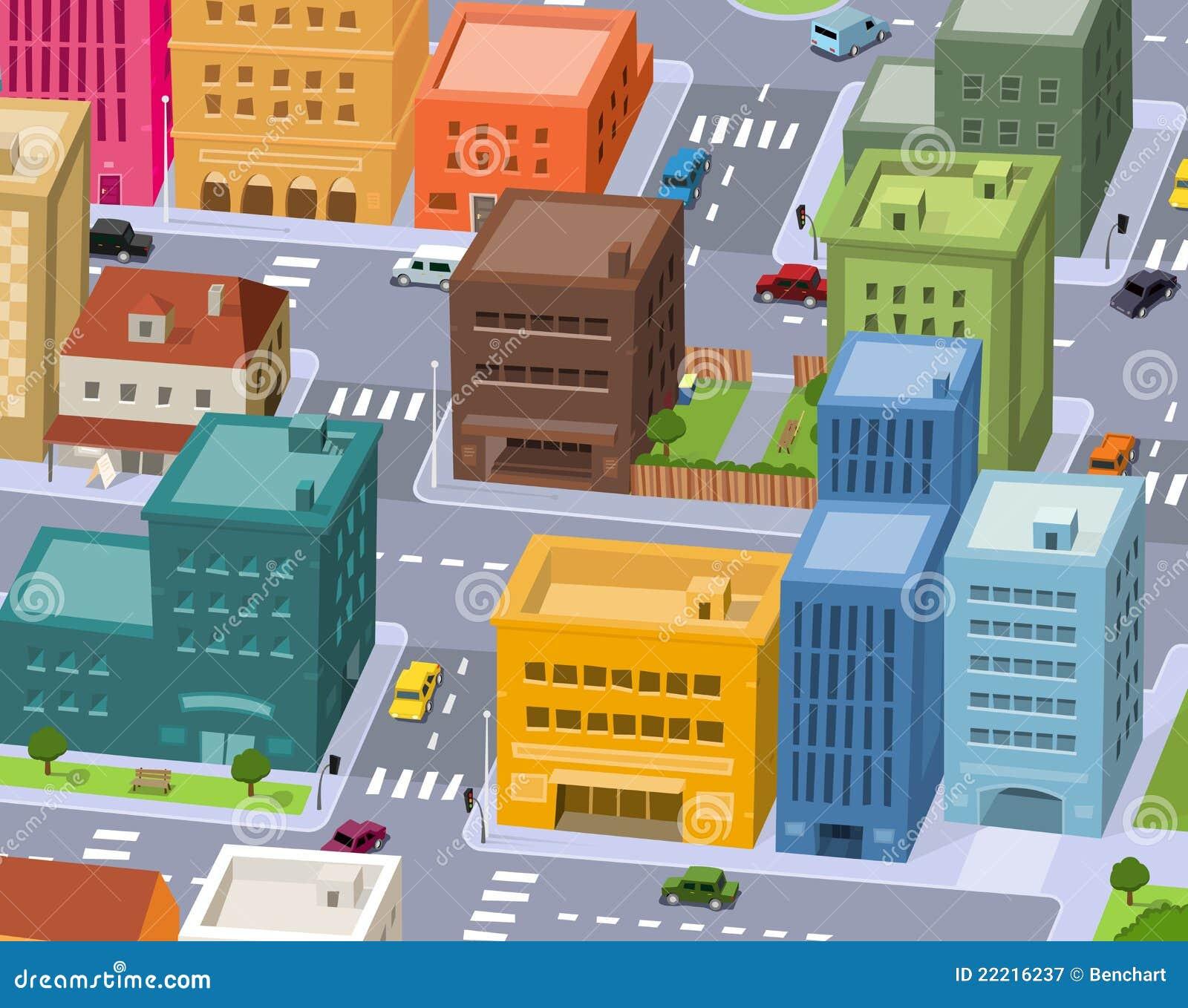 ville de dessin anim sc ne du centre illustration de vecteur illustration du downtown voie. Black Bedroom Furniture Sets. Home Design Ideas