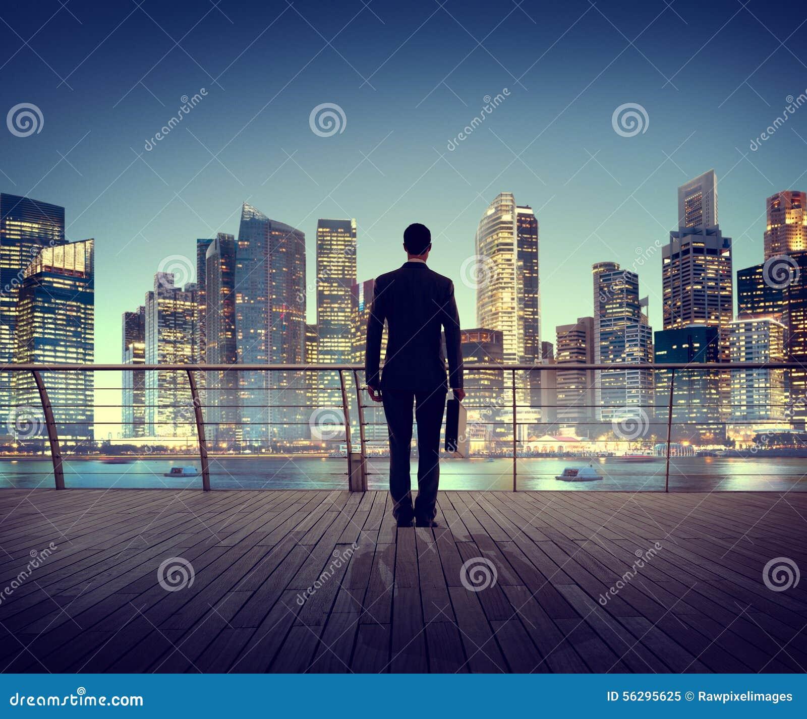 Ville de scène de Corporate Cityscape Urban d homme d affaires construisant Concep