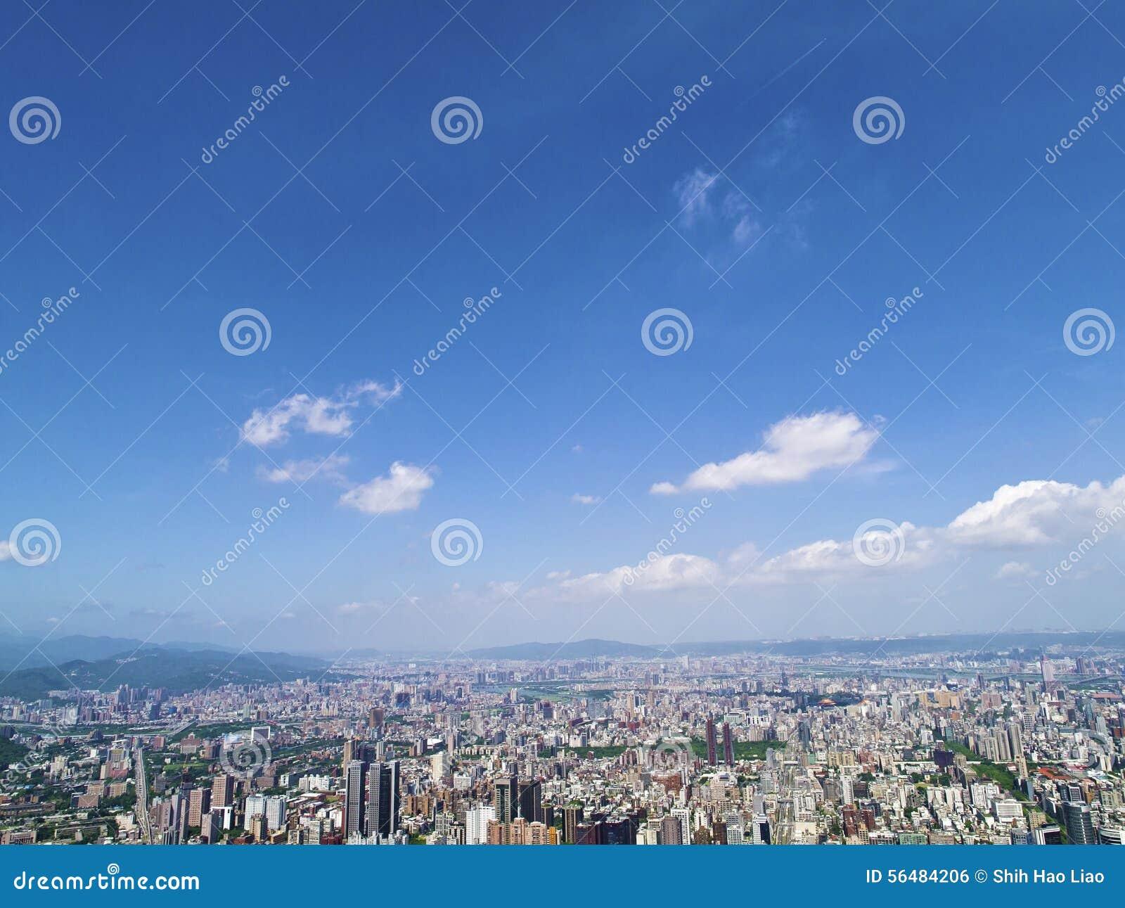 Ville de Taïpeh de vue supérieure