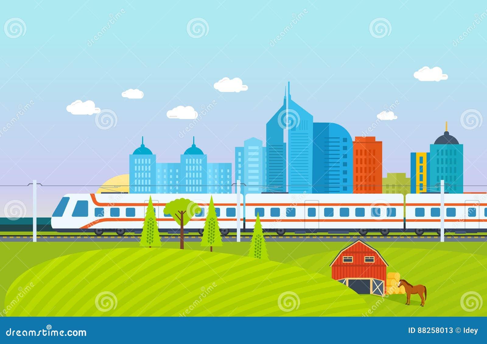 Ville, environs, paysage, champs et fermes, souterrain, train, chemin de fer, bâtiments