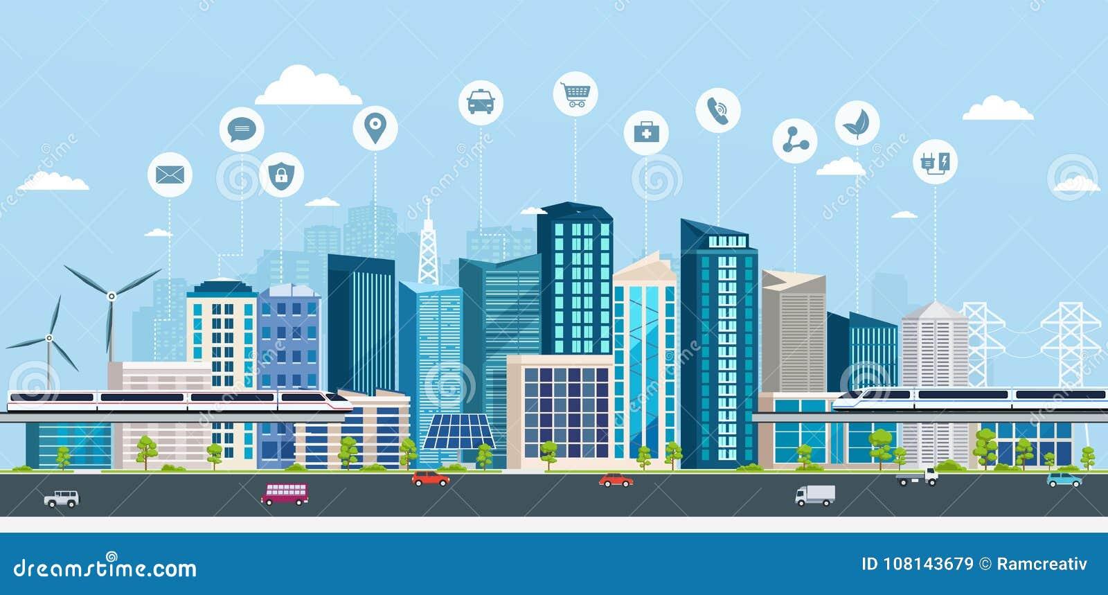 Ville futée avec des signes d affaires Ville moderne de concept en ligne