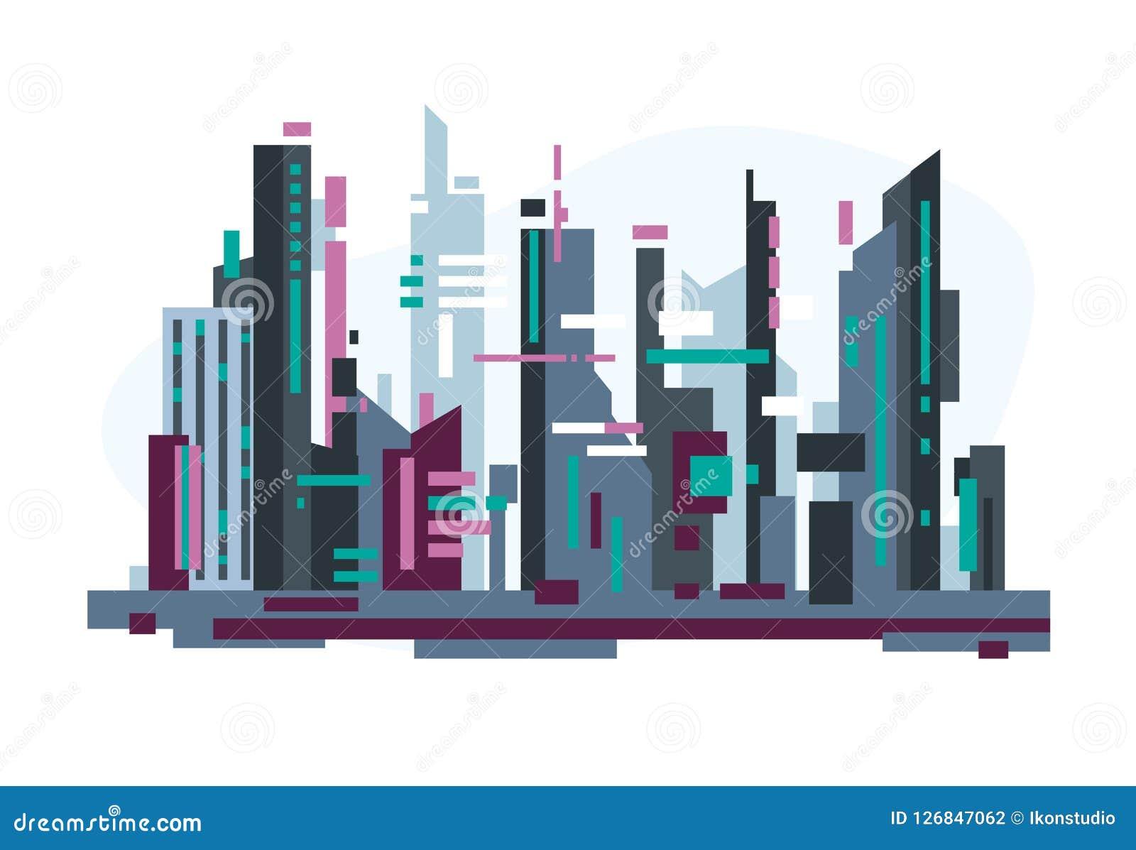 Ville futuriste avec des gratte-ciel