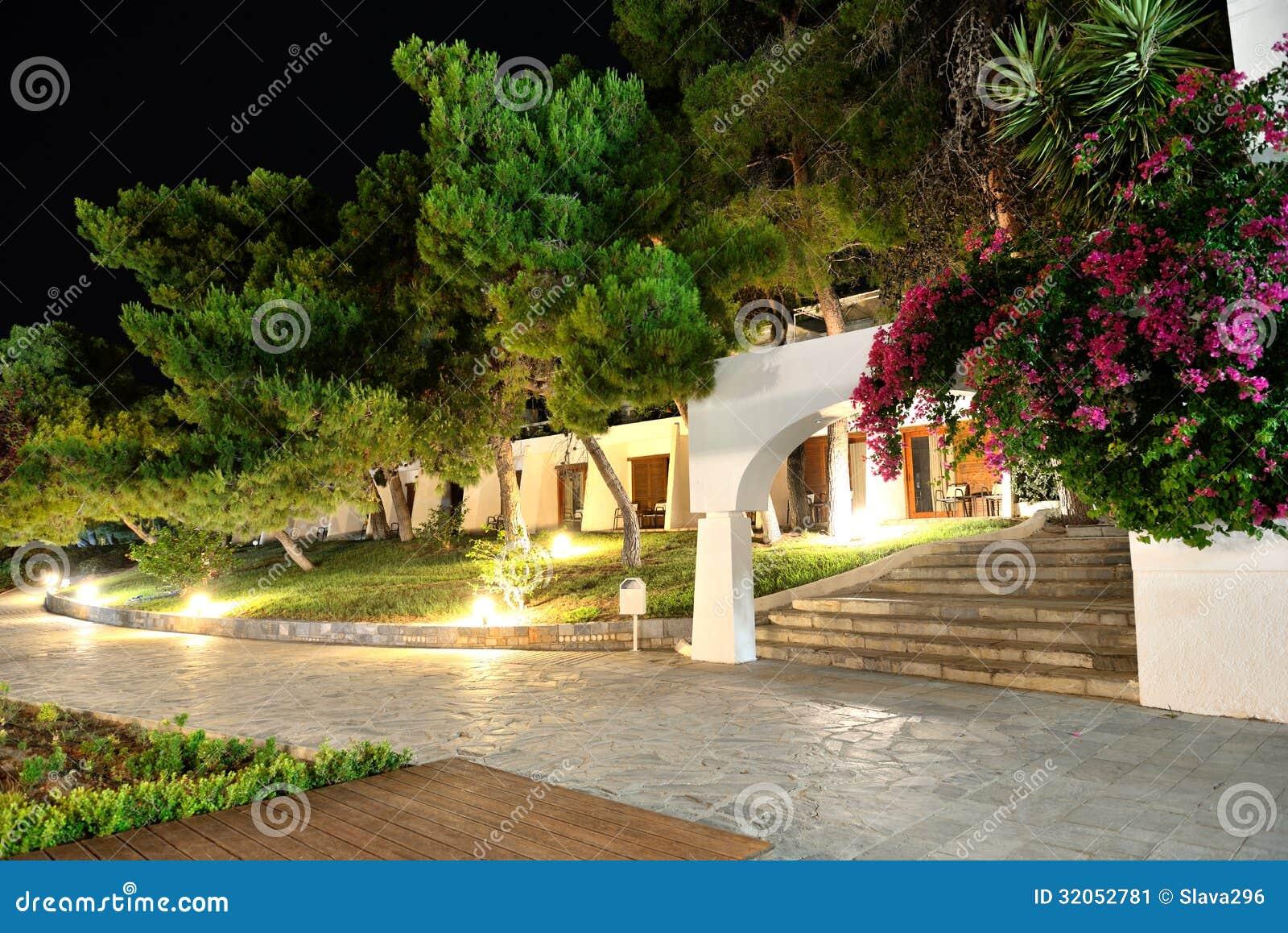ville illuminate all 39 albergo di lusso immagine stock