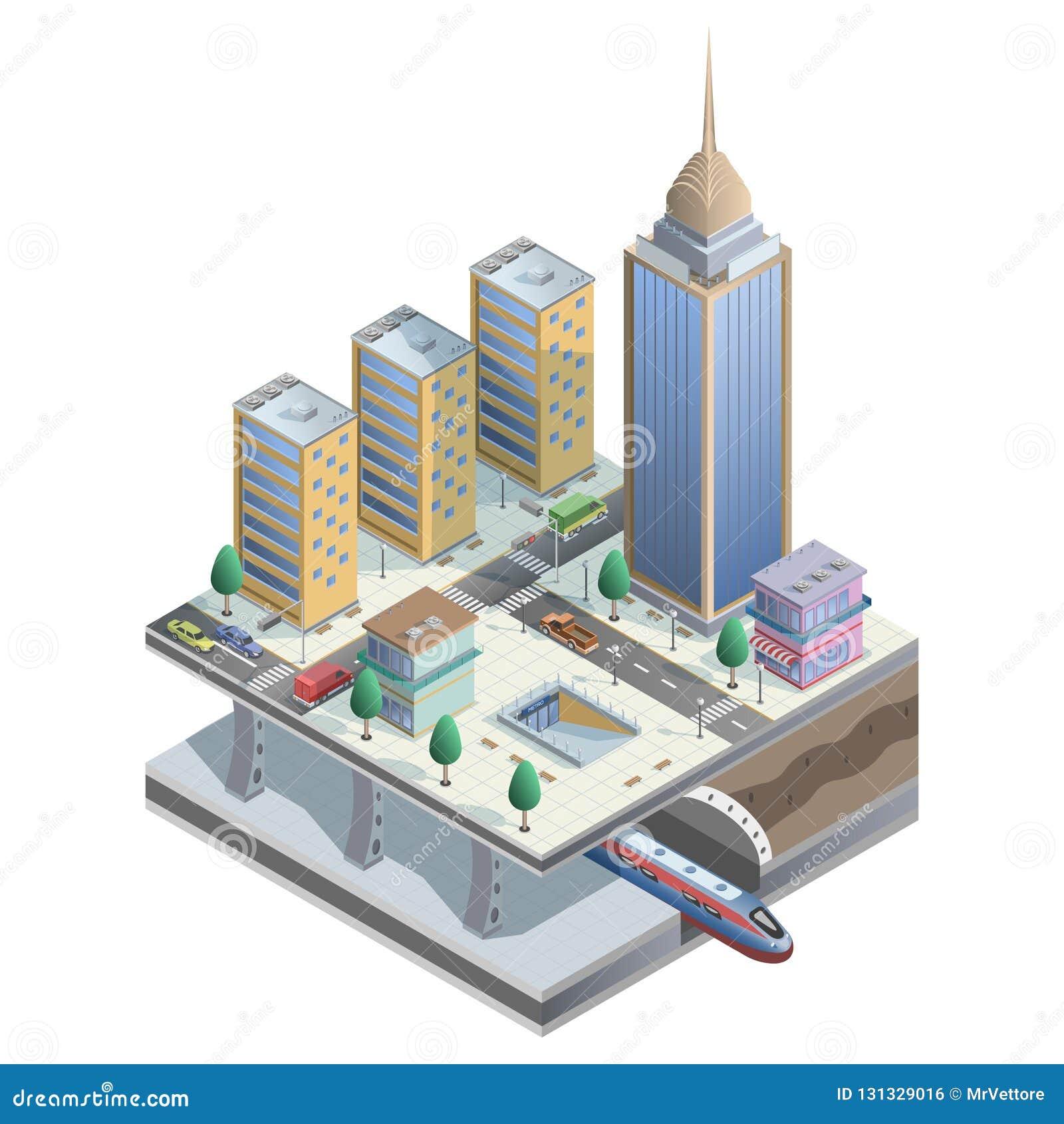 Ville isométrique de vecteur avec la métro, les magasins et les éléments de rue