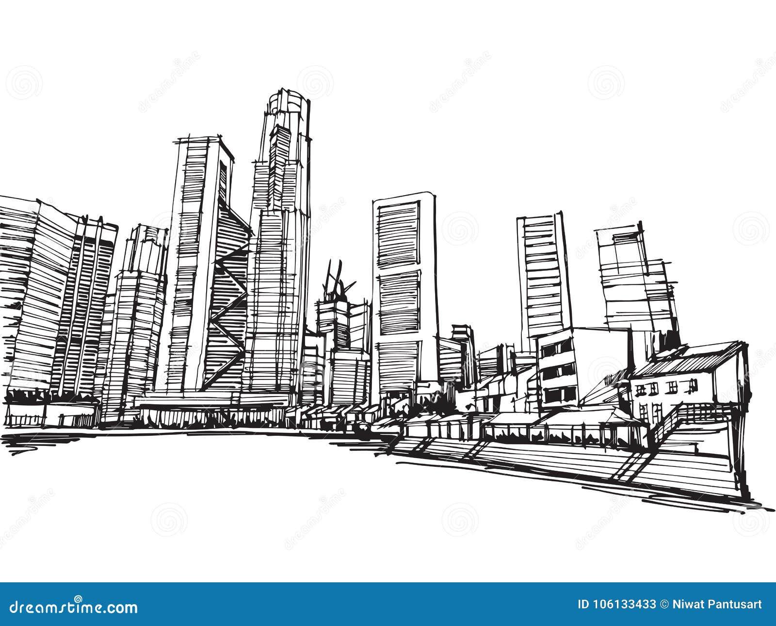 Ville panoramique de Singapour de vecteur de croquis de dessin de carte blanche