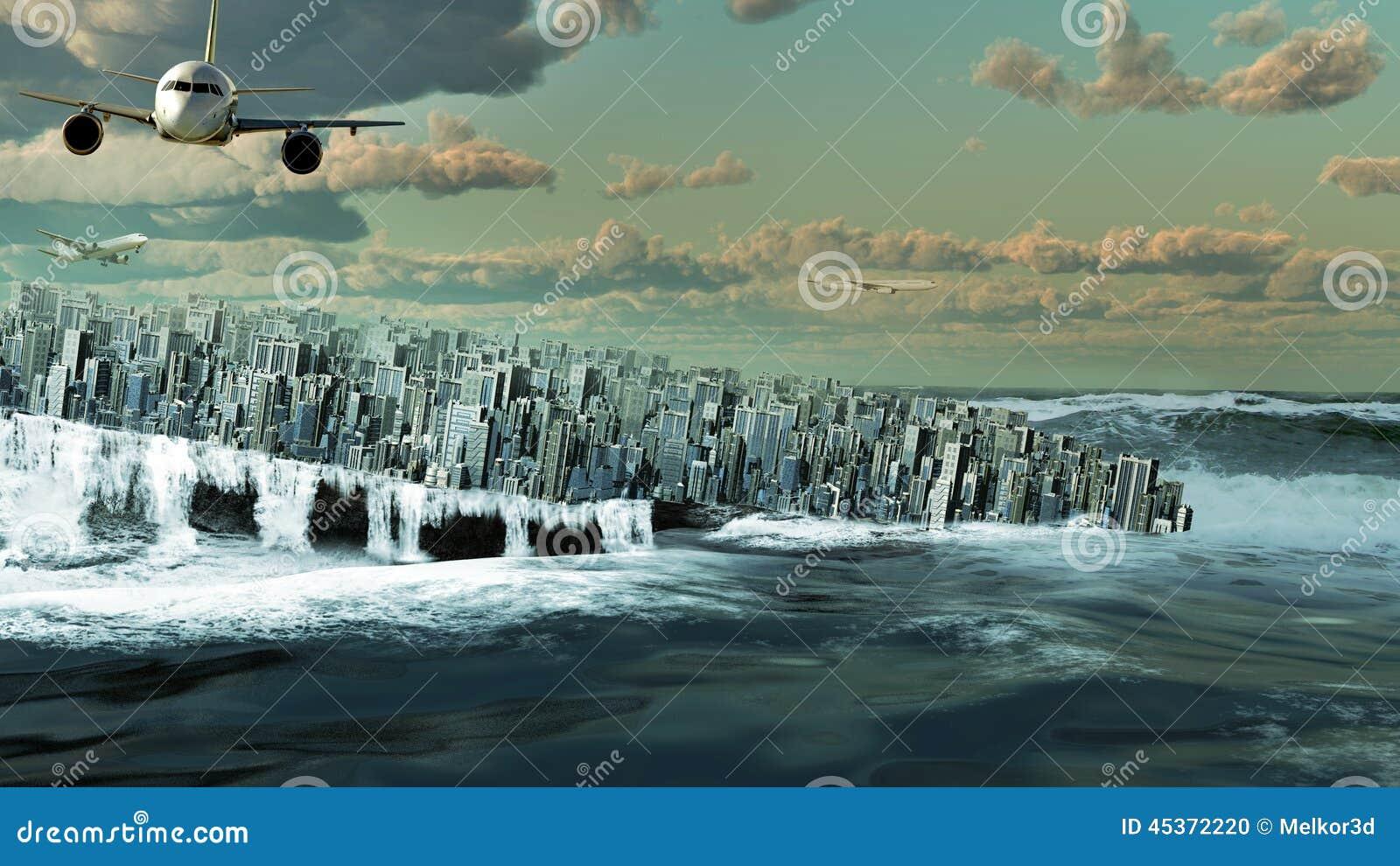 Ville se noyant dans l océan
