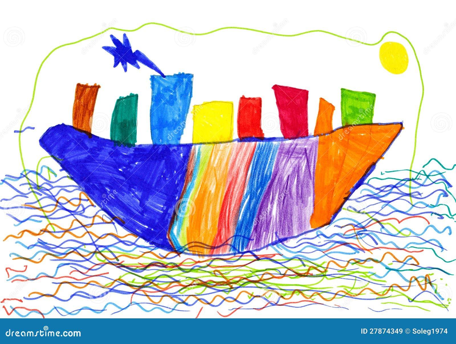 Ville sur le dessin d 39 enfants de bateau et de mer illustration stock illustration du brun - Dessin bateau enfant ...