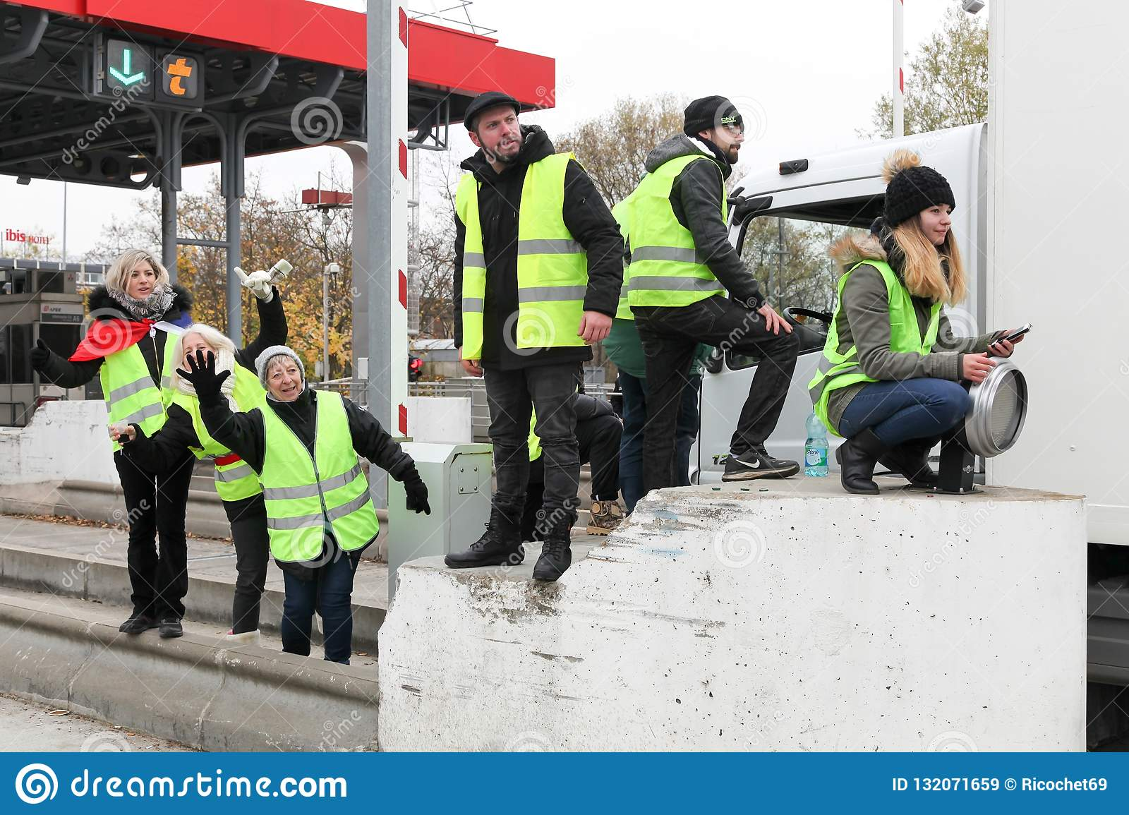 Yellow vests protest against higher fuel prices and block motorway in Villefranche en Beaujolais, France