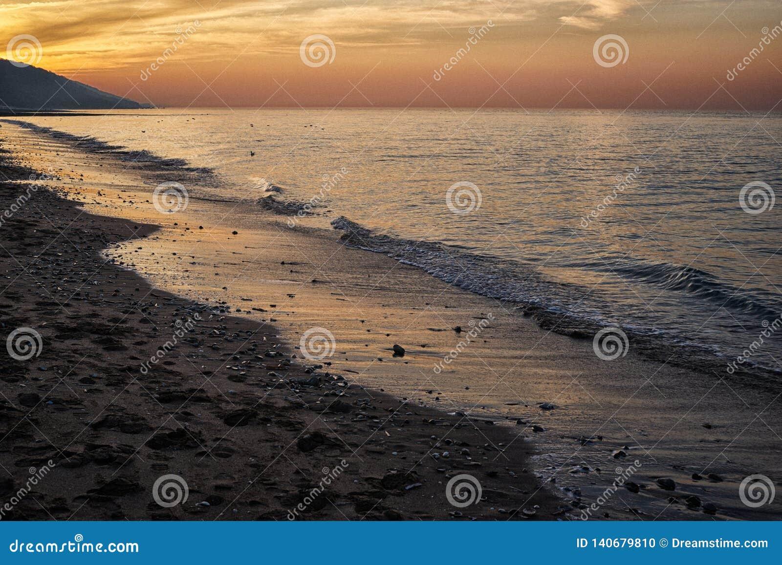 Villers-sur Mer-Strand bei Sonnenuntergang