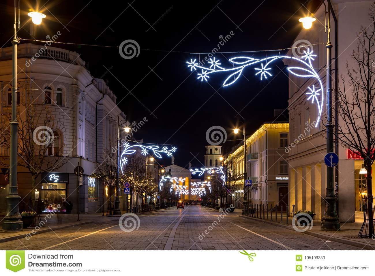 Superior Vilnius, Lithuania   December 2, 2017: The Main Street Of Lithuanian Capital  City Vilnius   Gediminas Avenue   Is Decorated For Chrismass And New Year  ... Amazing Design