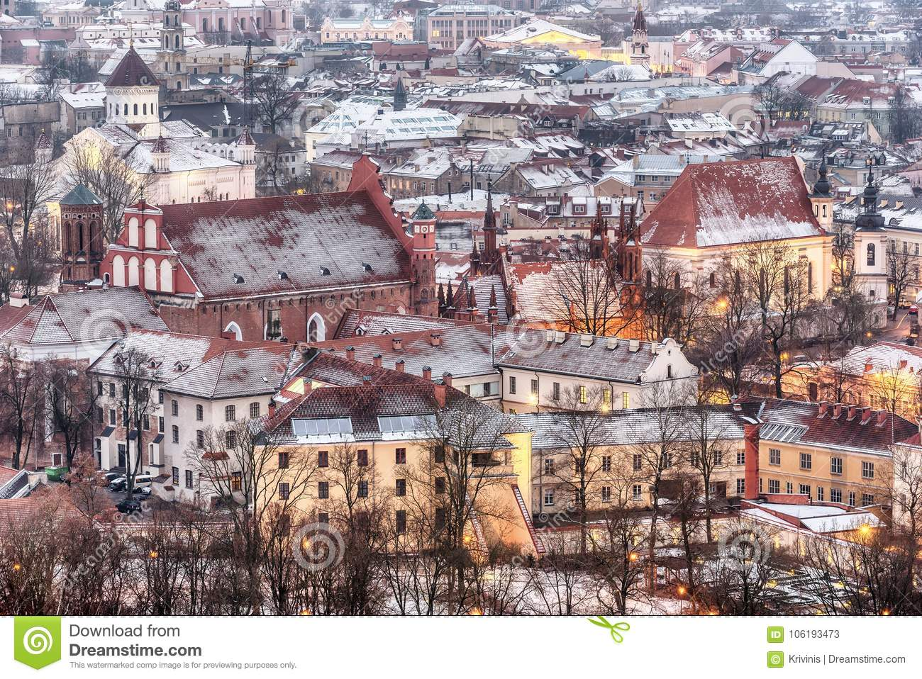 0953f29036 Vilnius, Lithuania: Aerial View Of The Old Town In Winter Stock ...