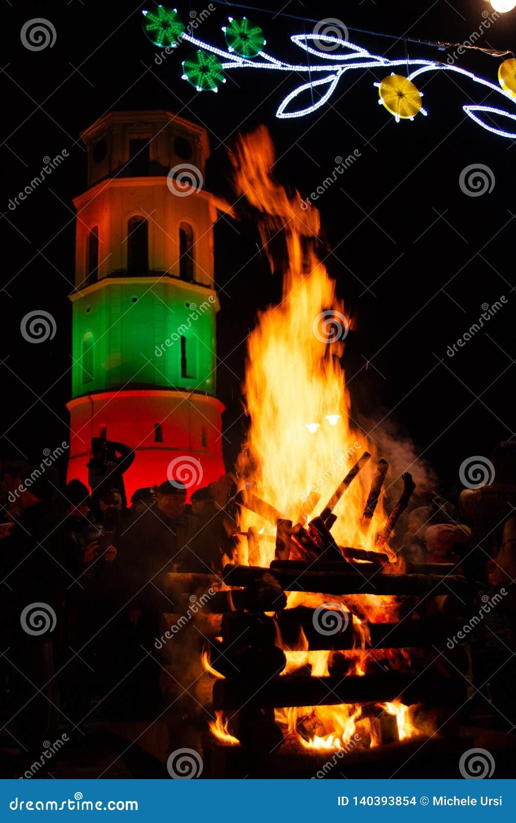 Vilnius, Lituania, il 16 febbraio, festa dell indipendenza