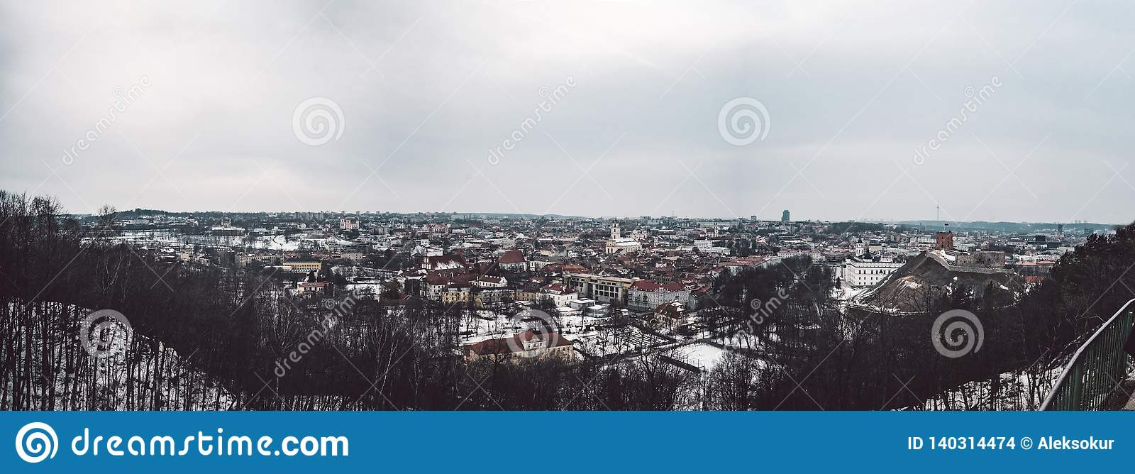 Vilnius old town panorama. Good view on city
