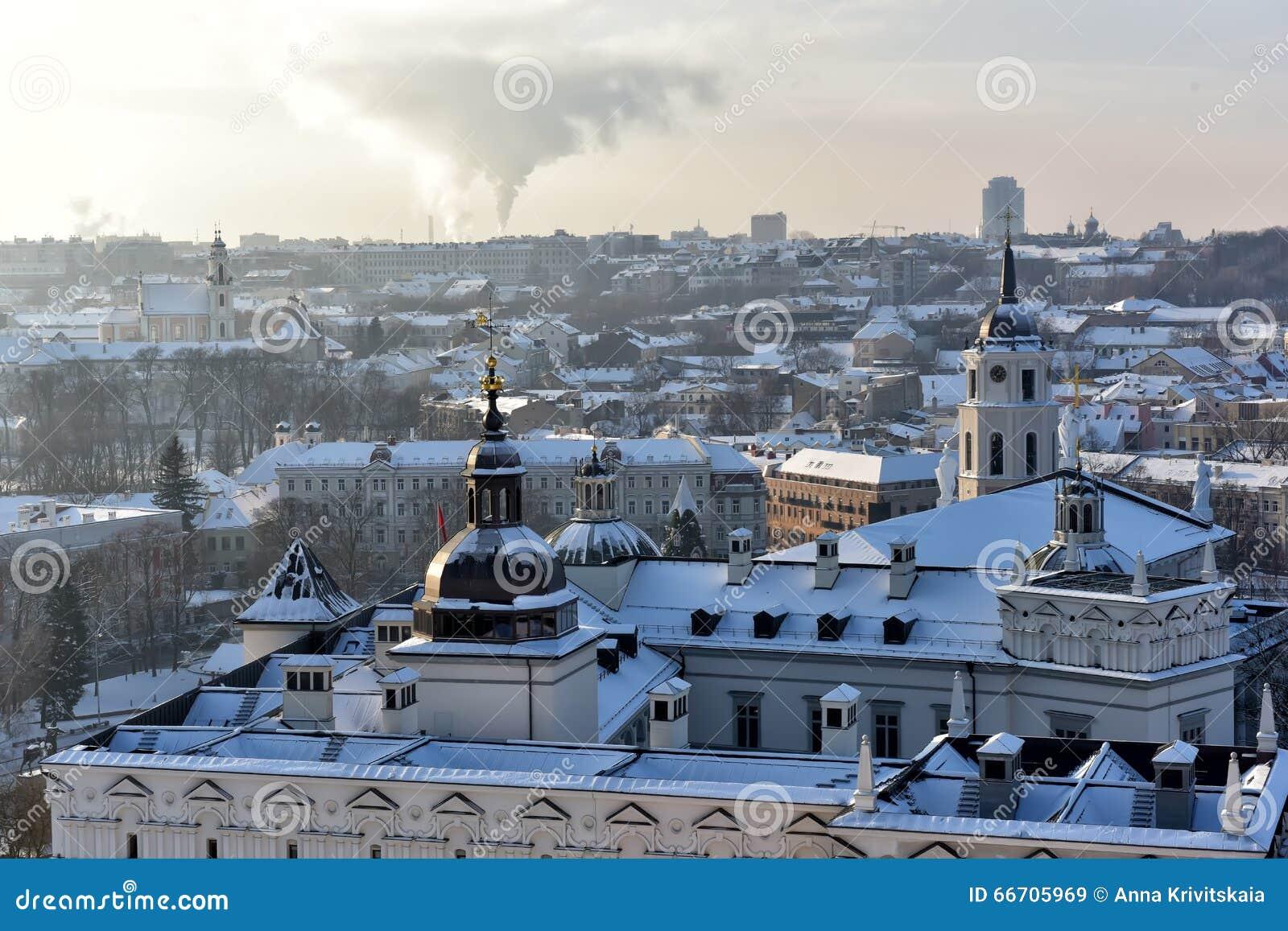 Vilnius roofs winter view