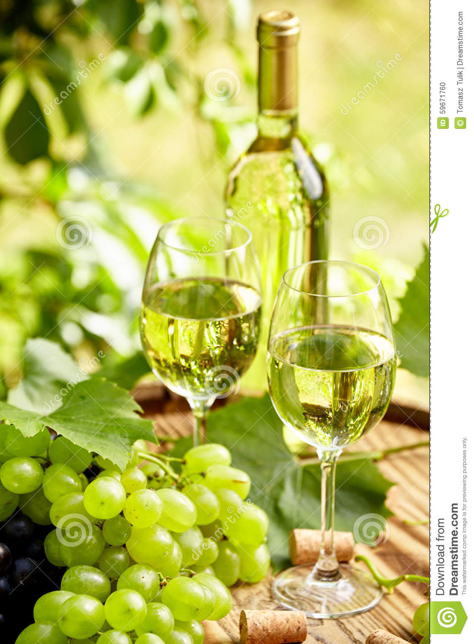 vin blanc avec le verre vin et les raisins sur la terrasse de jardin photo stock image du. Black Bedroom Furniture Sets. Home Design Ideas