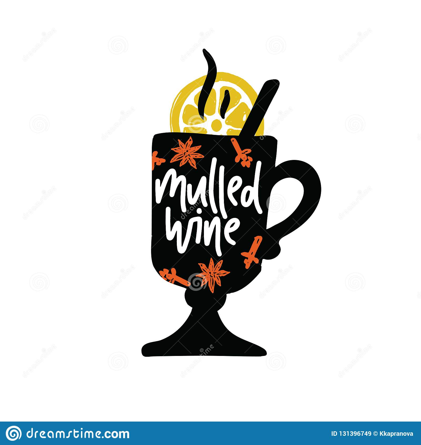 Vin chauffé Lettrage écrit par main Illustration de verre et de citron avec le nom de l intérieur de boissons Vecteur