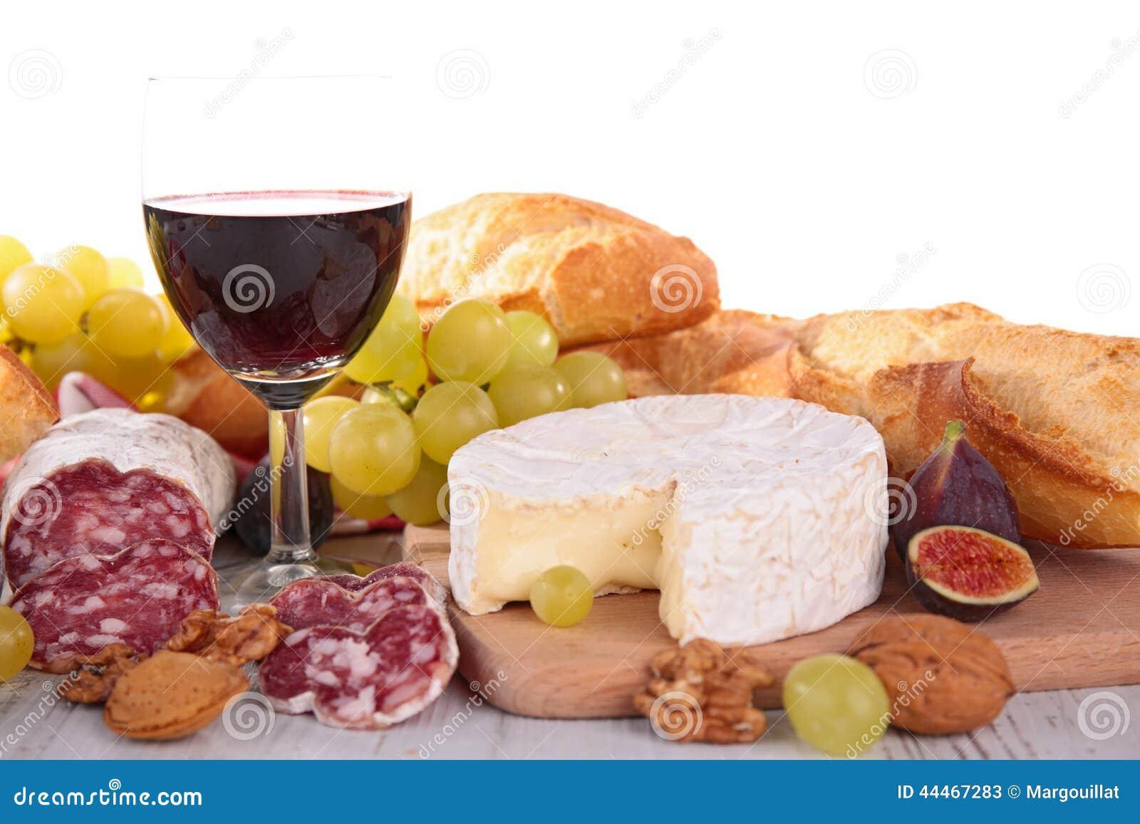 vin fromage saucisse et pain image stock image du figue nourriture 44467283. Black Bedroom Furniture Sets. Home Design Ideas