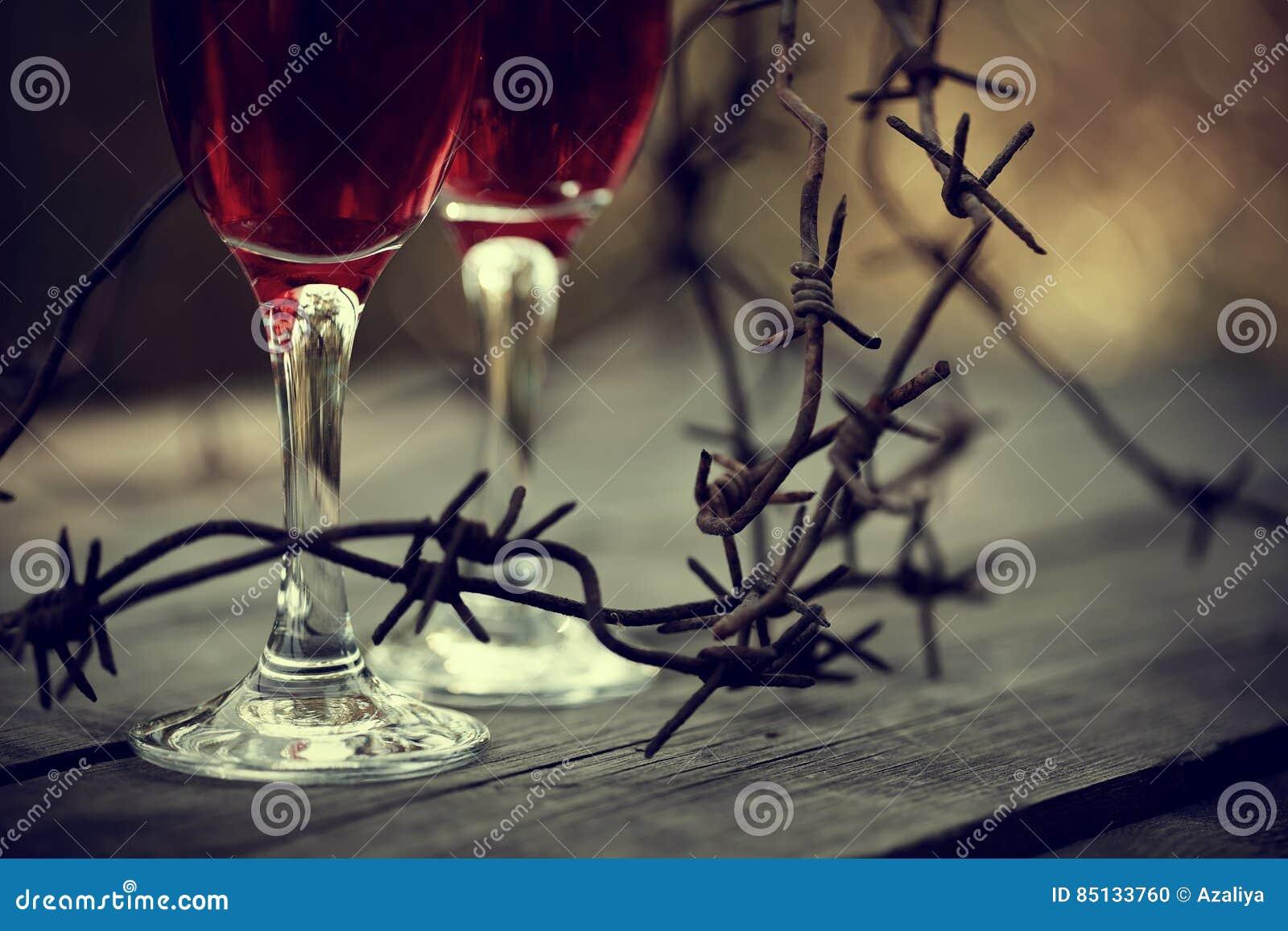 Vin i exponeringsglas och försedd med en hulling - tråd