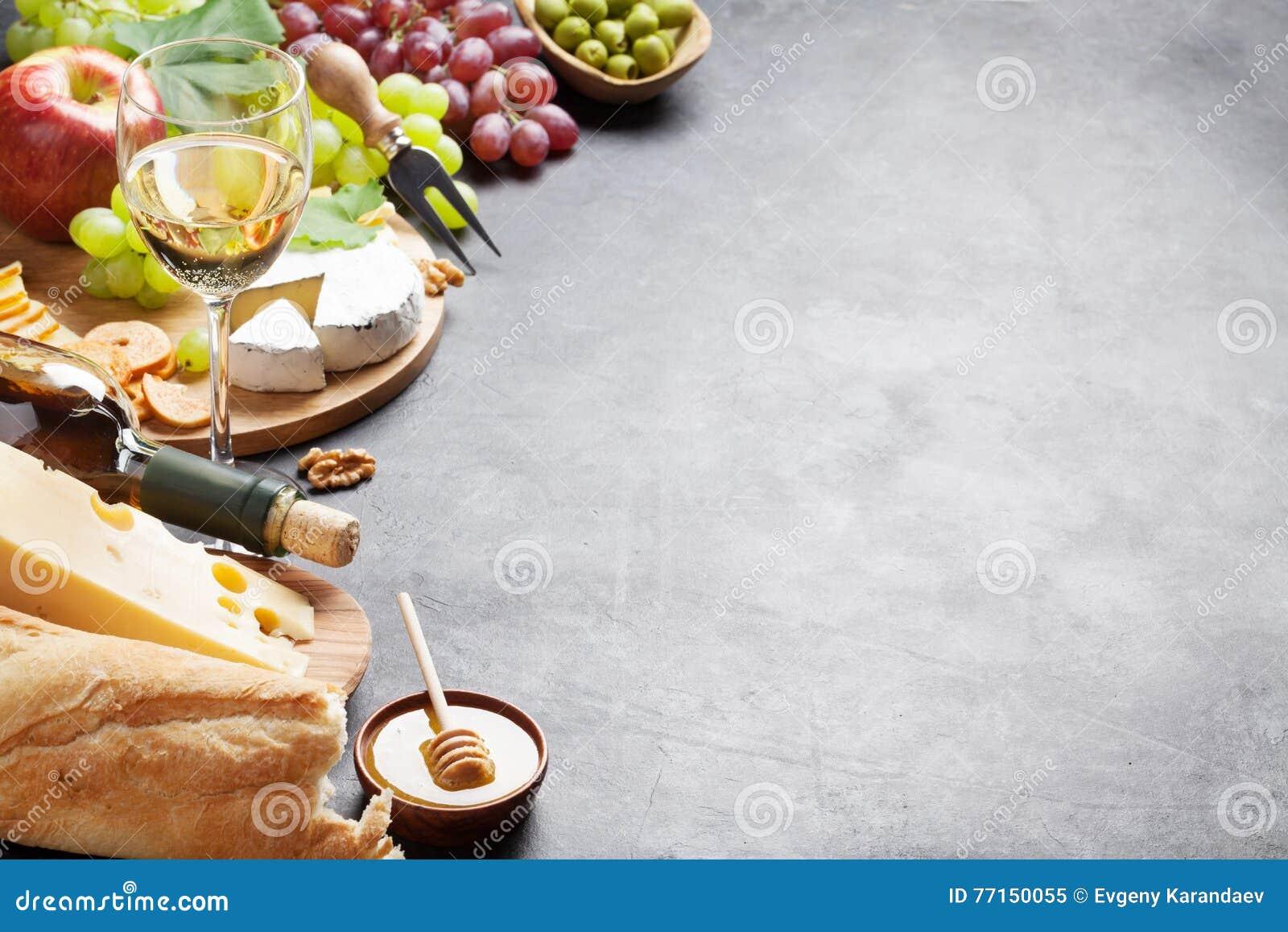 Vin, raisin, fromage et miel