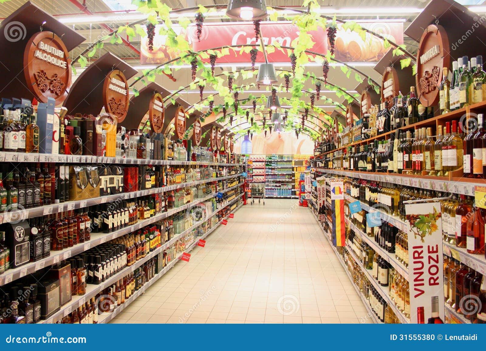 Vinavdelning i supermarket