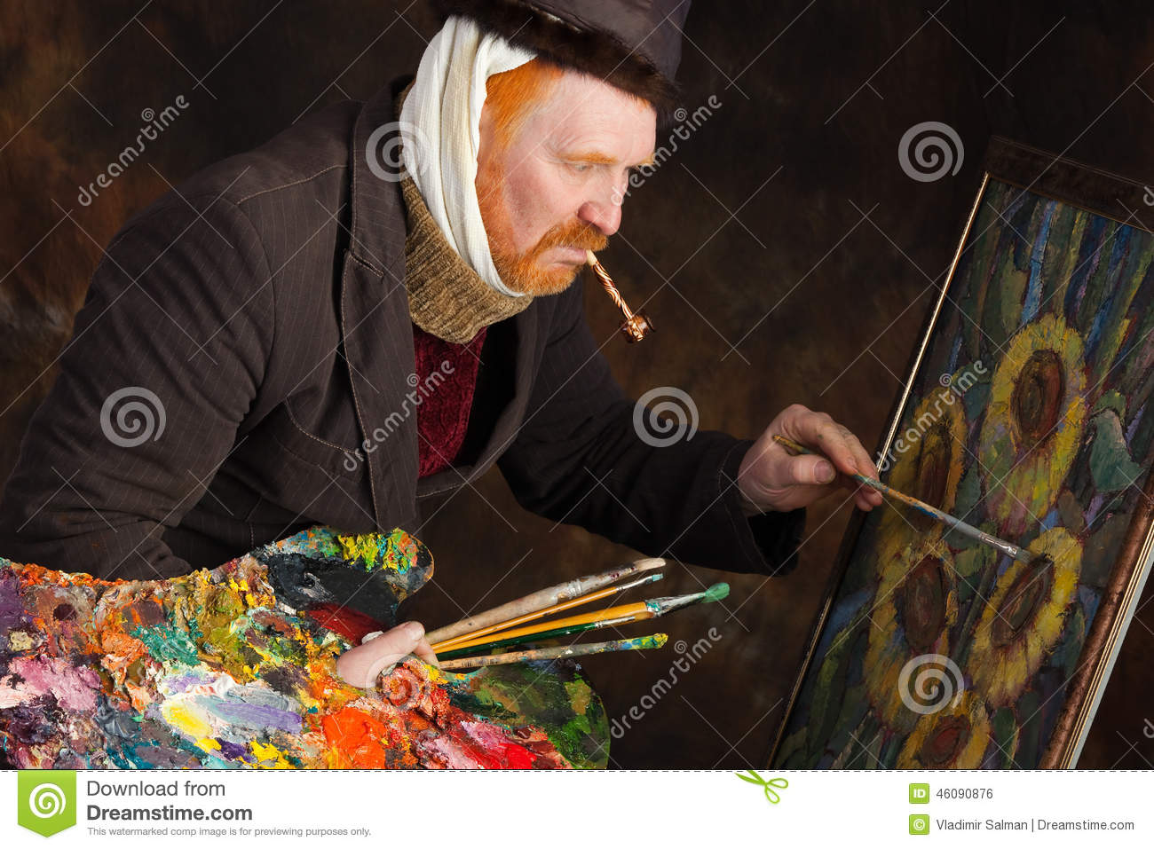 Close-up portrait of the adult artist with red beard and mustache in ...