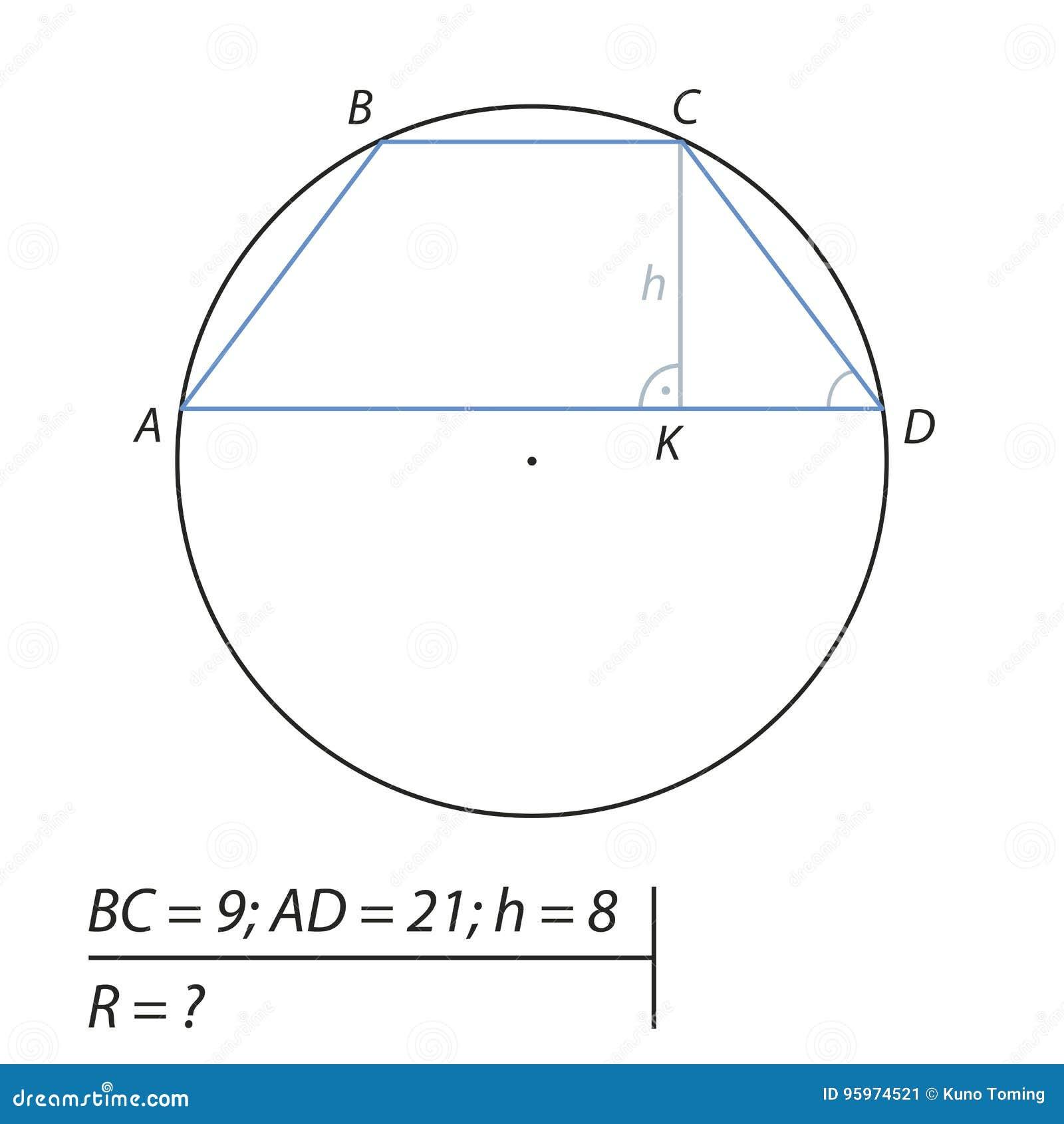 Vind de straal R van de cirkel
