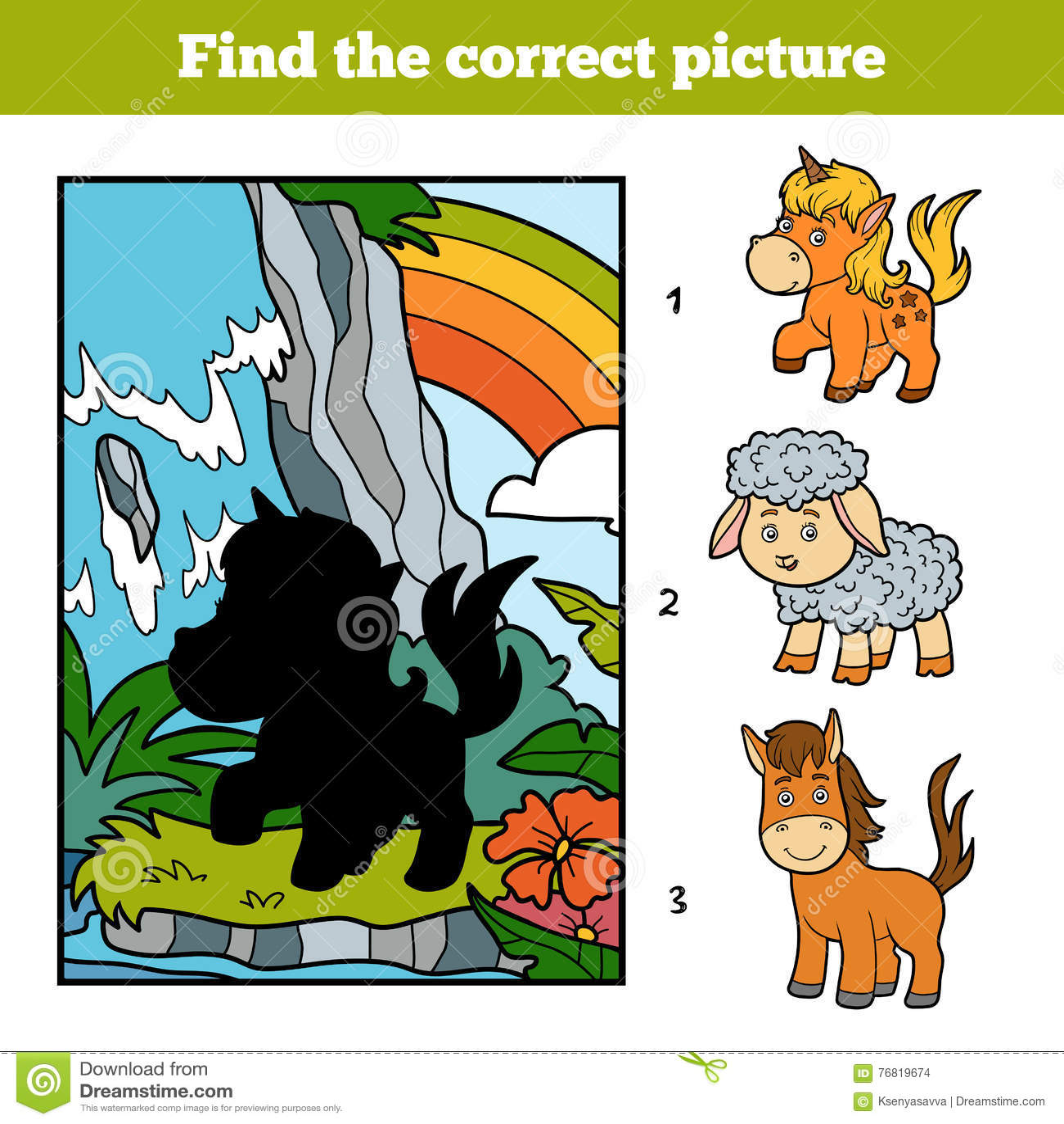 Vind het correcte beeld, de Feeeenhoorn en de regenboog