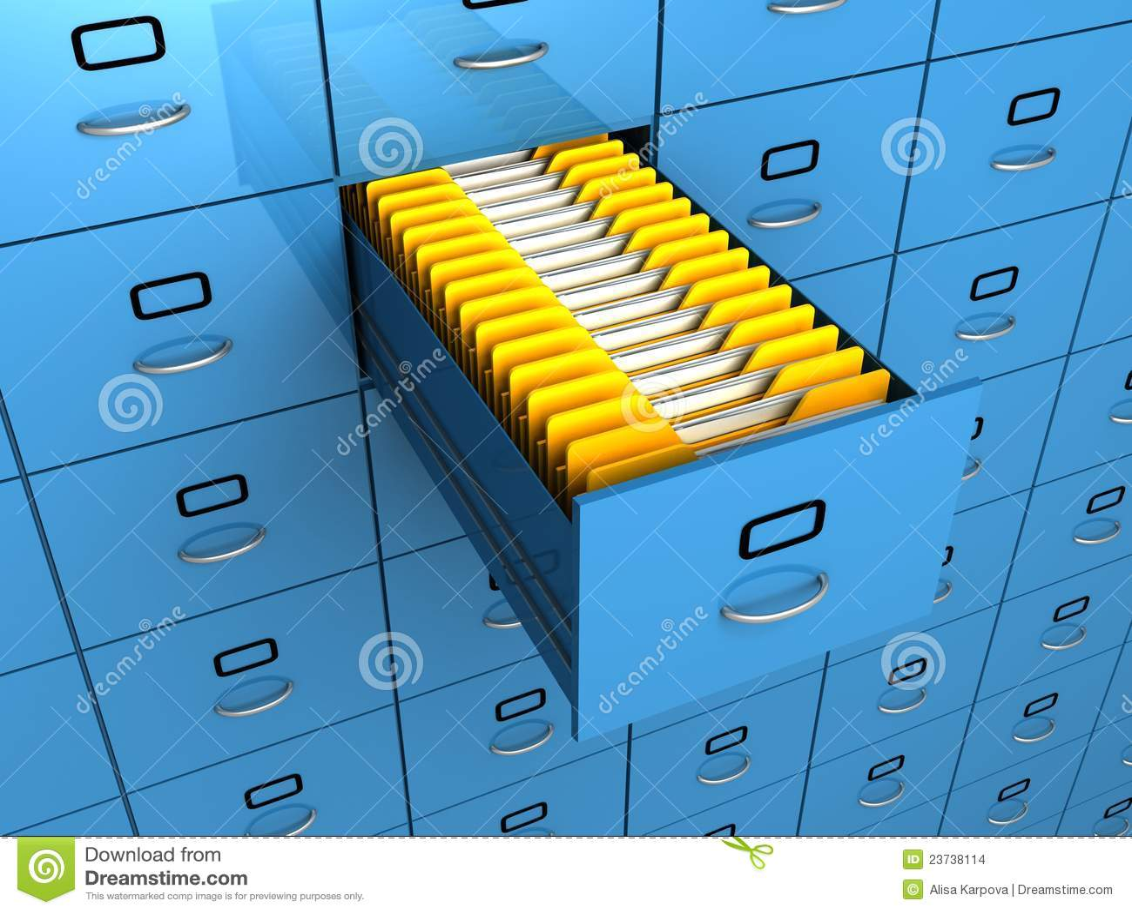 Vind omslag in het blauwe kabinet van de archieflade stock ...