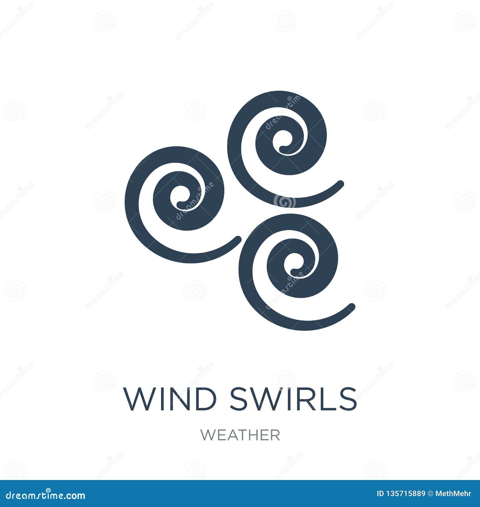 Vind virvlar runt symbolen i moderiktig designstil vind virvlar runt symbolen som isoleras på vit bakgrund vind virvlar runt den