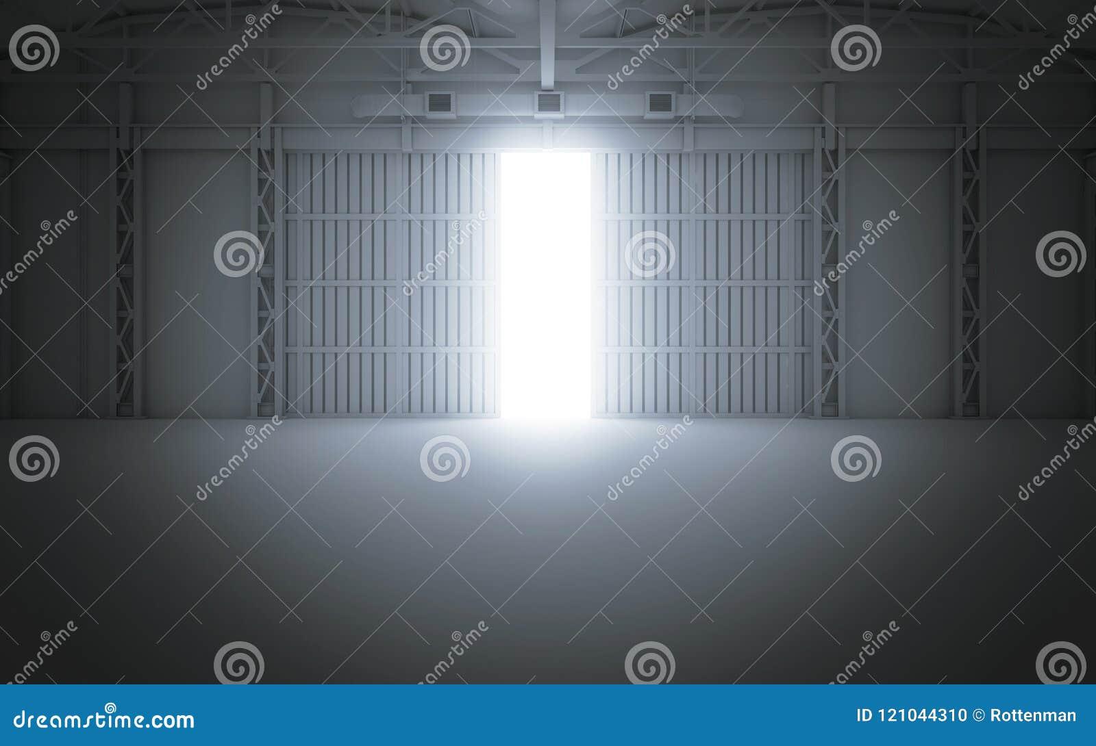 Vinda clara brilhante através das portas abertas do hangar rendição 3d