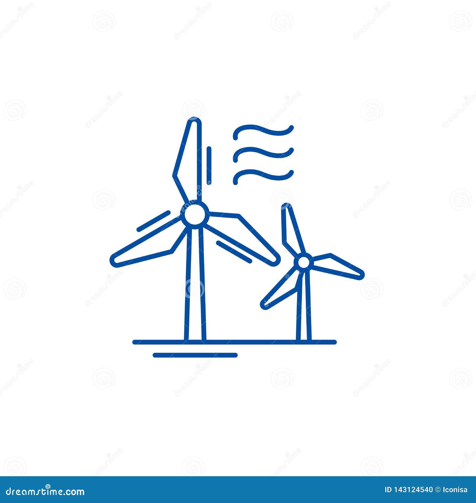 Vindkraftlinje symbolsbegrepp Plant vektorsymbol f?r vindkraft, tecken, ?versiktsillustration