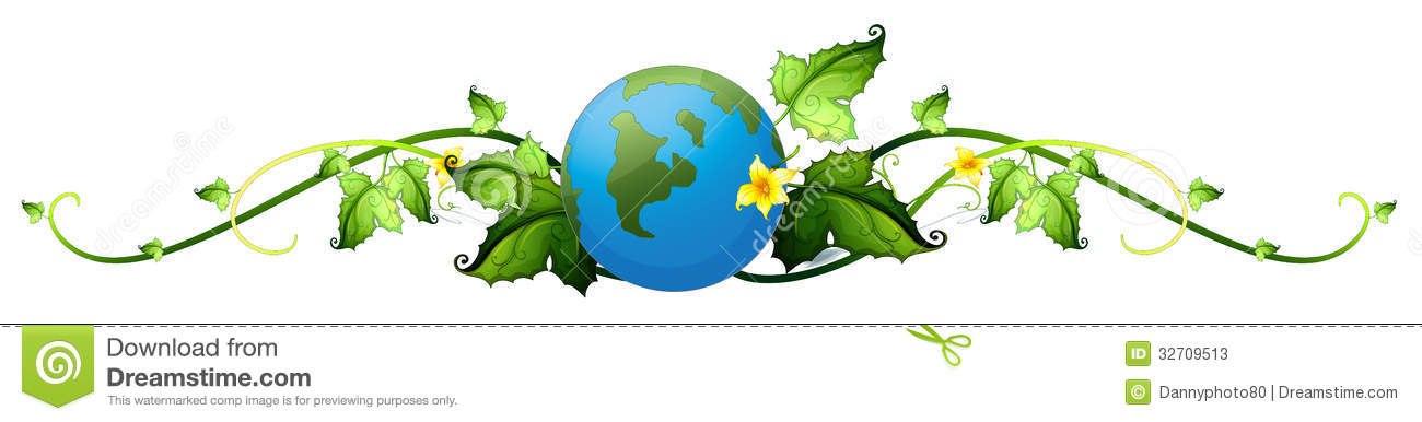A Vine Plant Border With The Earth Stock Vector - Image ...
