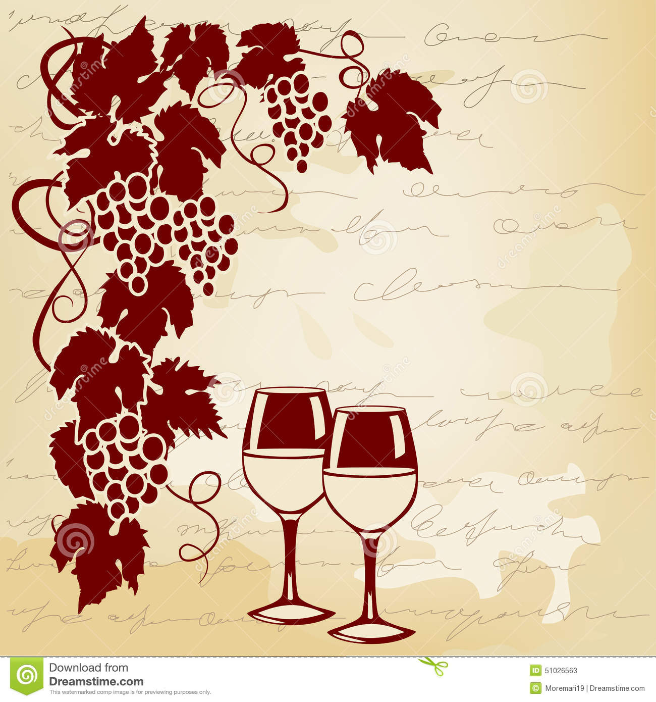 Vine And Wine Glasses On A Vintage Background Stock Vector ...