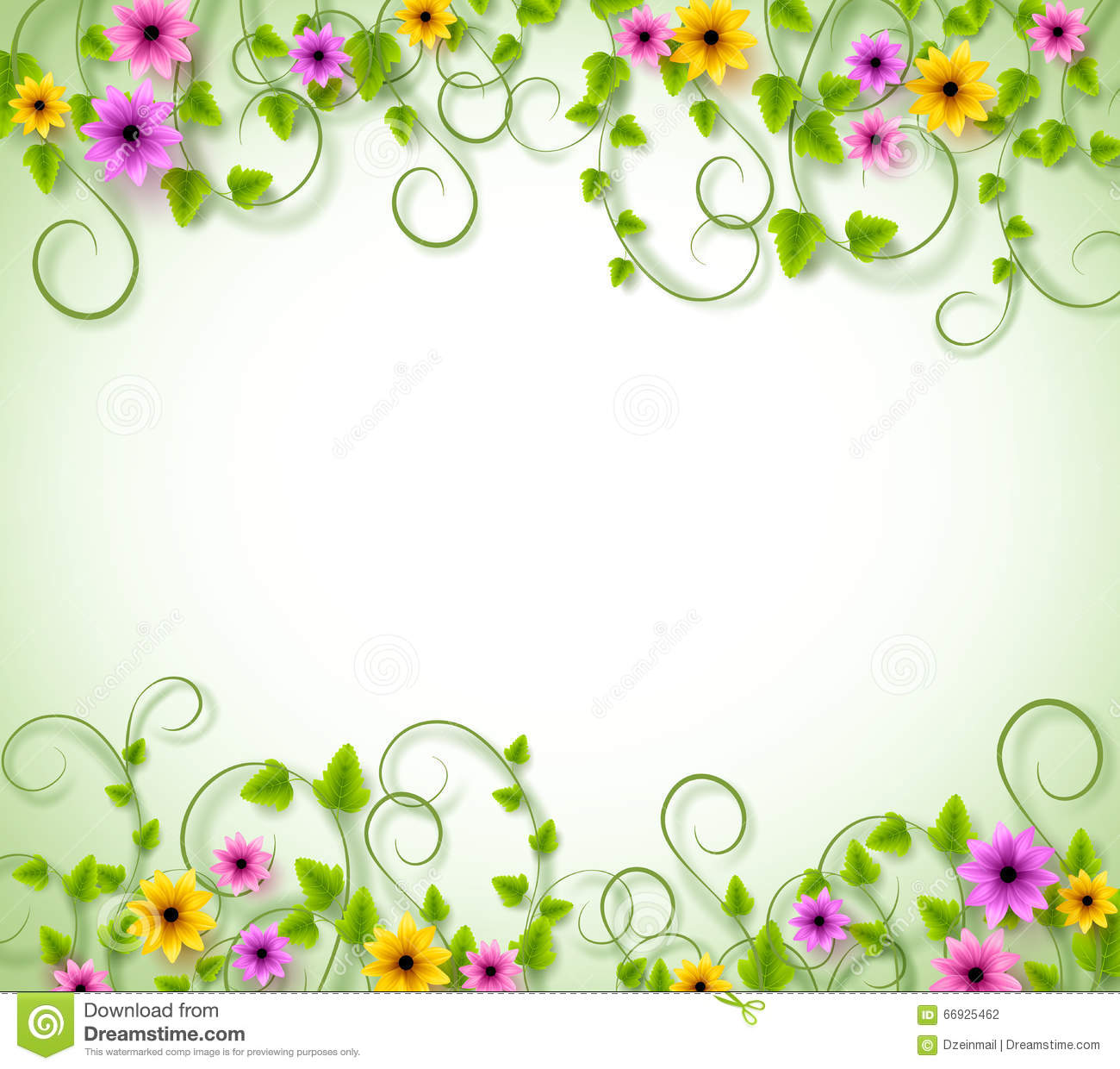 Vines Background For Spring Season With Realistic Colorful
