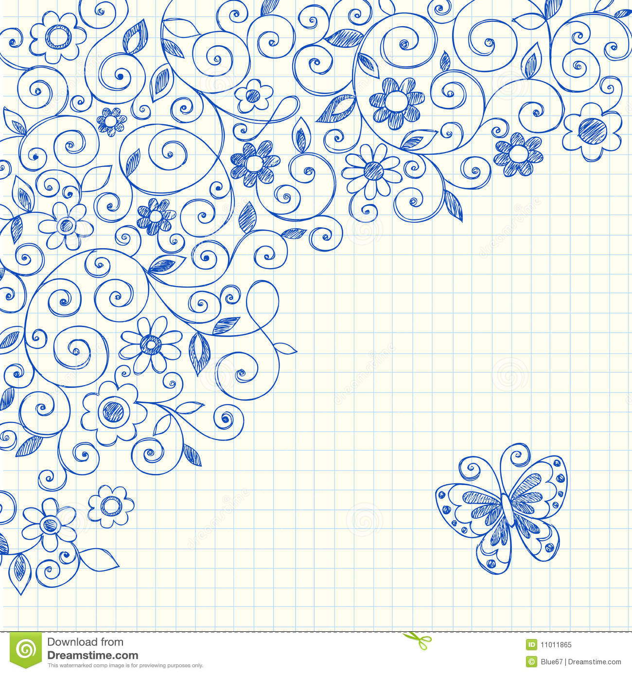 vines sketchy notebook doodles on graph paper royalty free