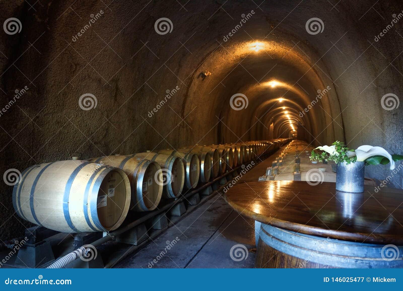 Vinfat i den horisontalmörka grottan