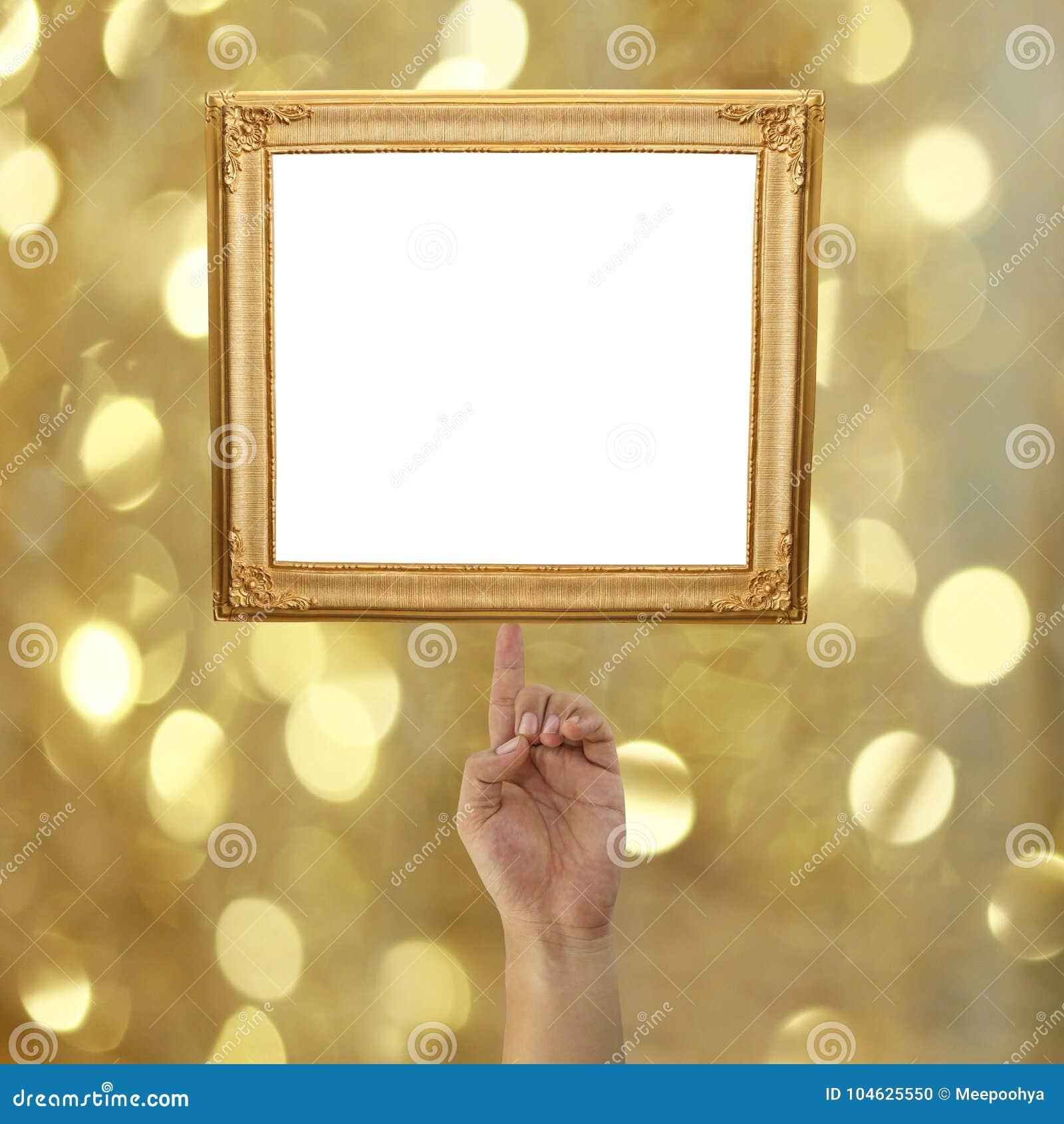Download Vinger Van Een Zakenman Die Aan Een Gouden Omlijsting Op BO Richten Stock Foto - Afbeelding bestaande uit gouden, idee: 104625550