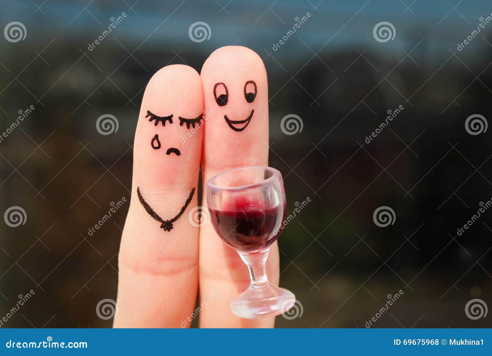 Vingerkunst van paar De vrouw is verstoord, gedronken man