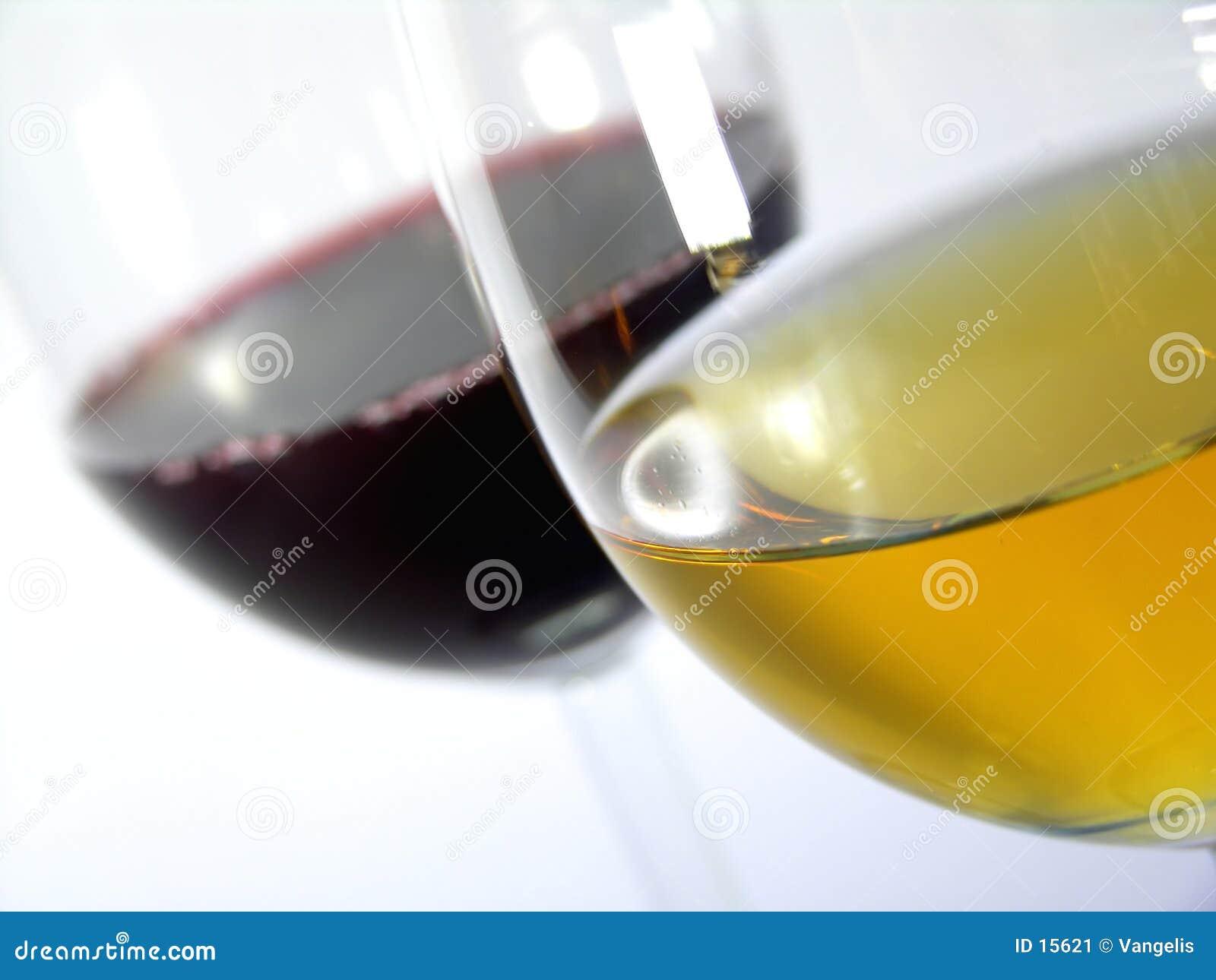 Vinho branco contra o vinho vermelho