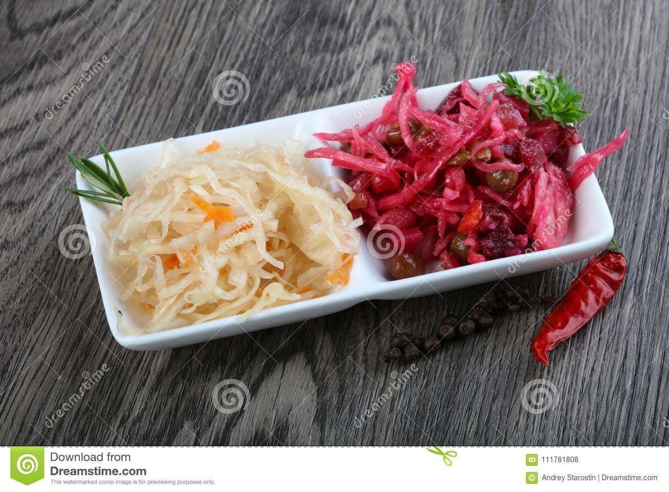 Viniagrette and fermented cabbage