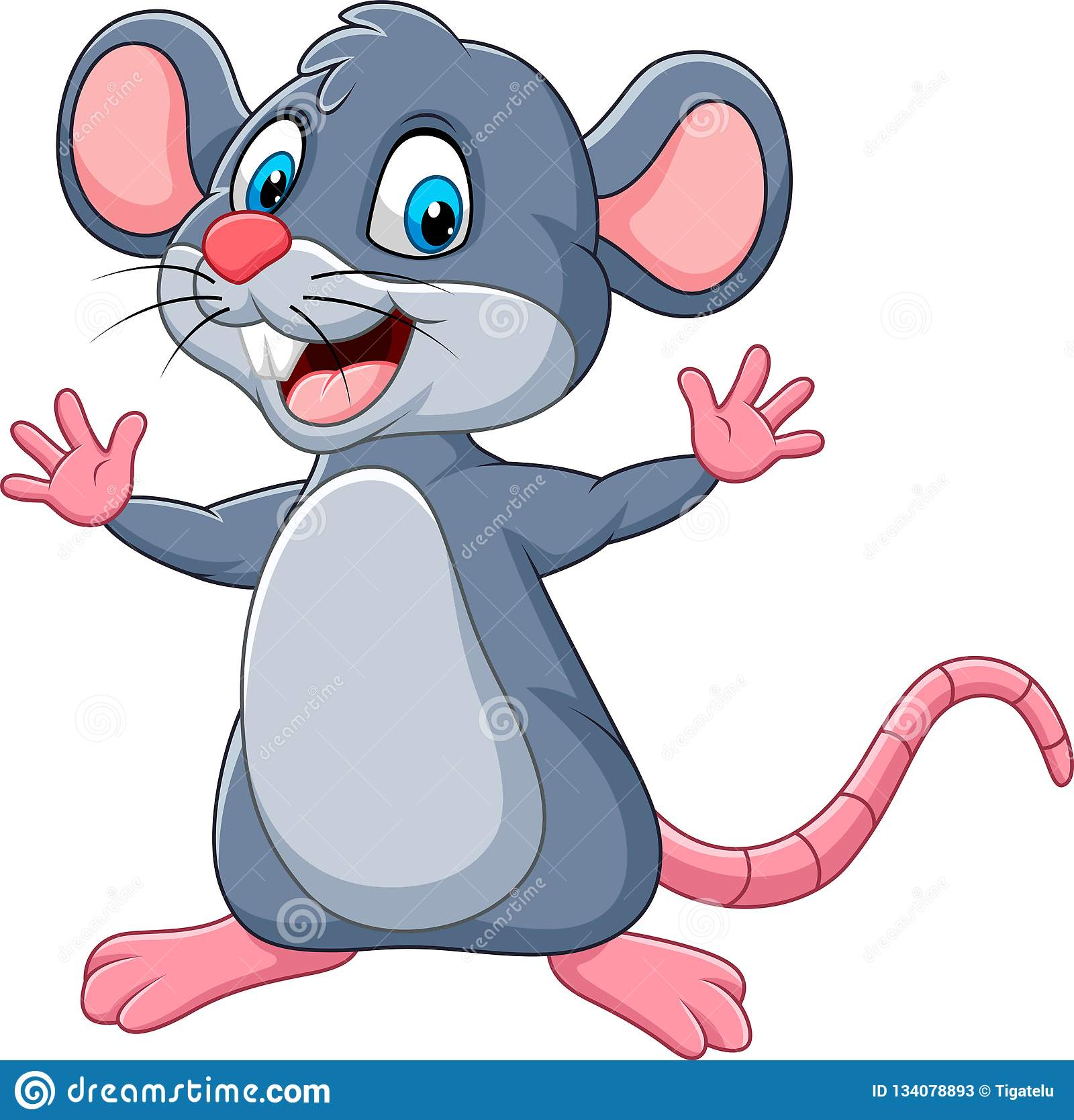 Vinka för mus för tecknad film lyckligt