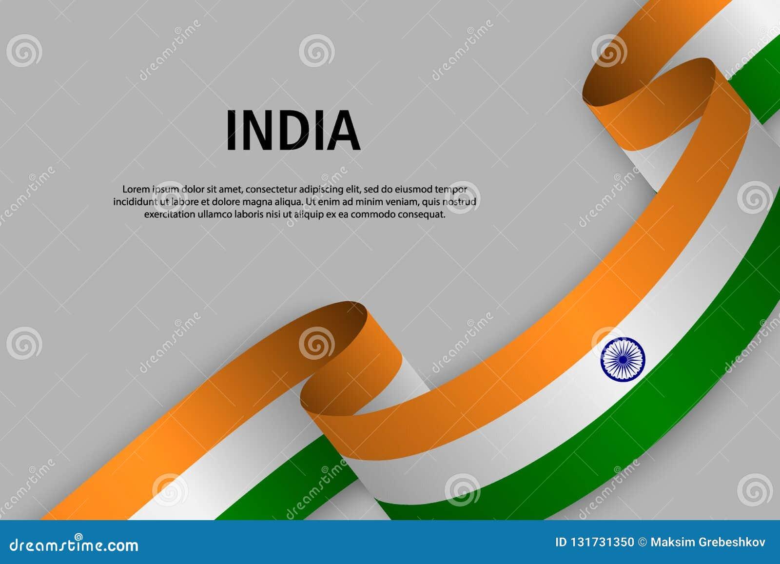 Vinkande band med flaggan av Indien,