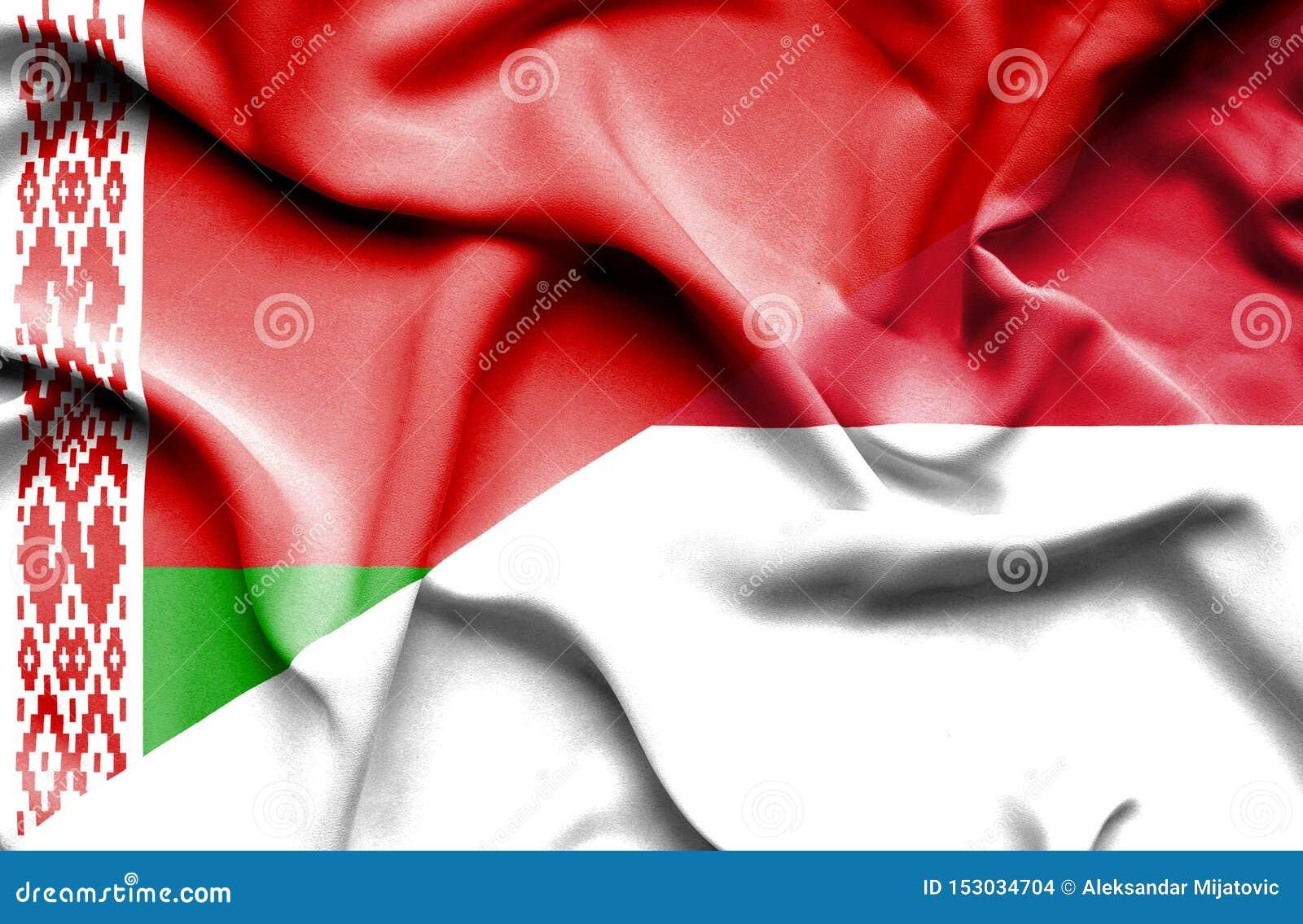 Vinkande flagga av Monaco och