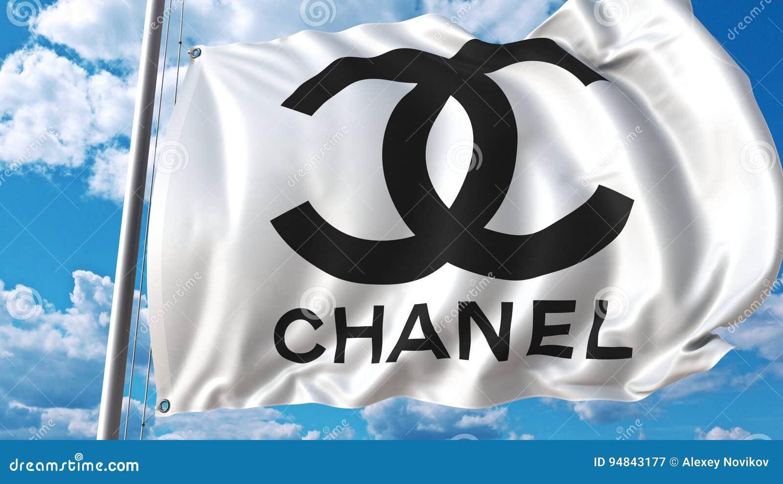 Vinkande flagga med den Chanel logoen mot himmel och moln Redaktörs- tolkning 3D