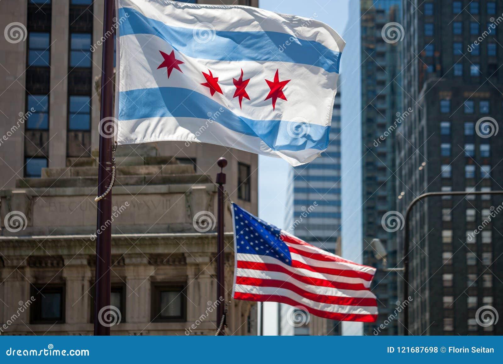 Vinkande flaggor av staden av Chicago och av Förenta staterna av