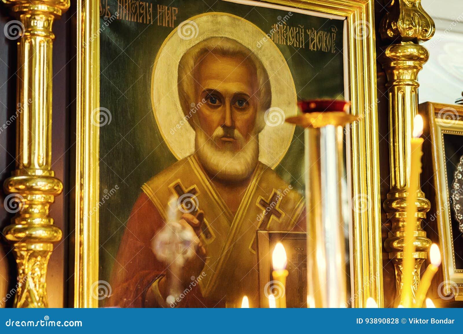 Vinnitsa, Украина - 25-ое мая 2017 Значок значка St Nicholas мимо может