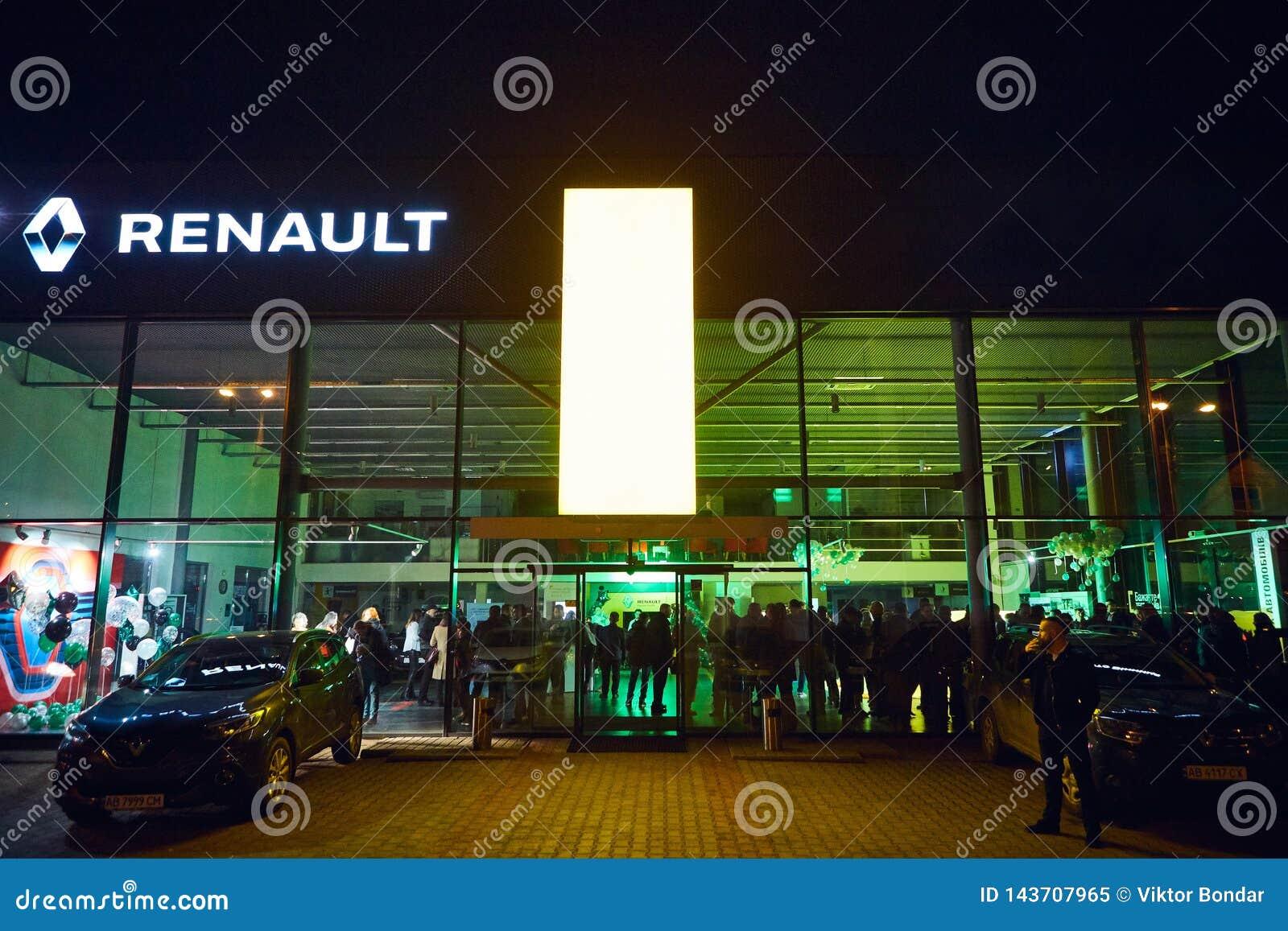 Vinnitsa Ukraina - mars 21, 2018 Renault visningslokalyttersida