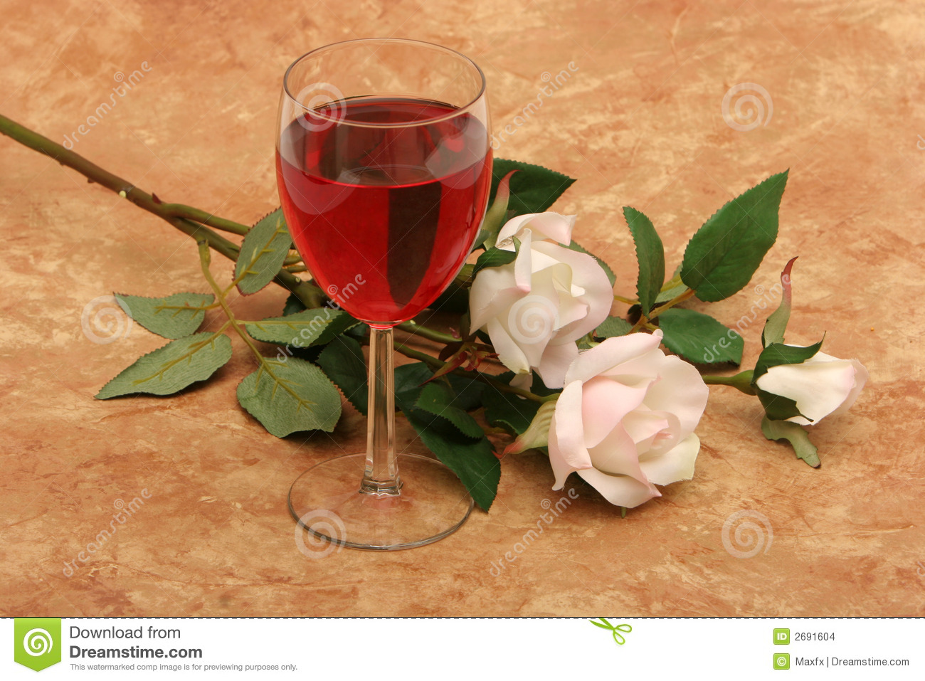 White and Red Rose Wine Glass