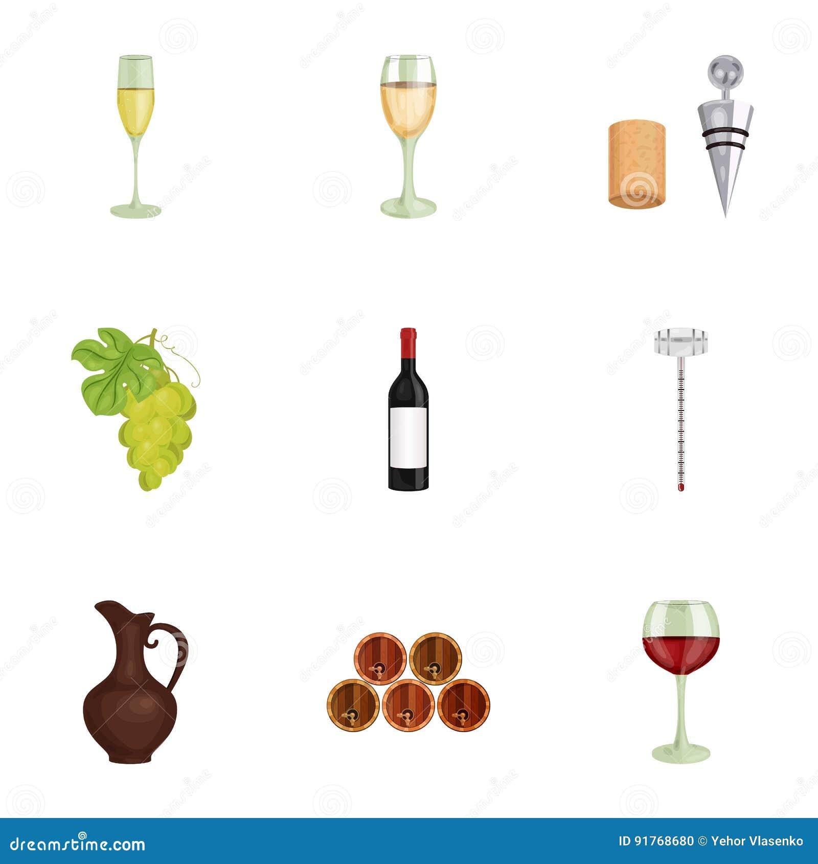 Vinprodukter Växande druvor, vin Vinrankaproduktionsymbol i uppsättningsamling på materiel för symbol för tecknad filmstilvektor